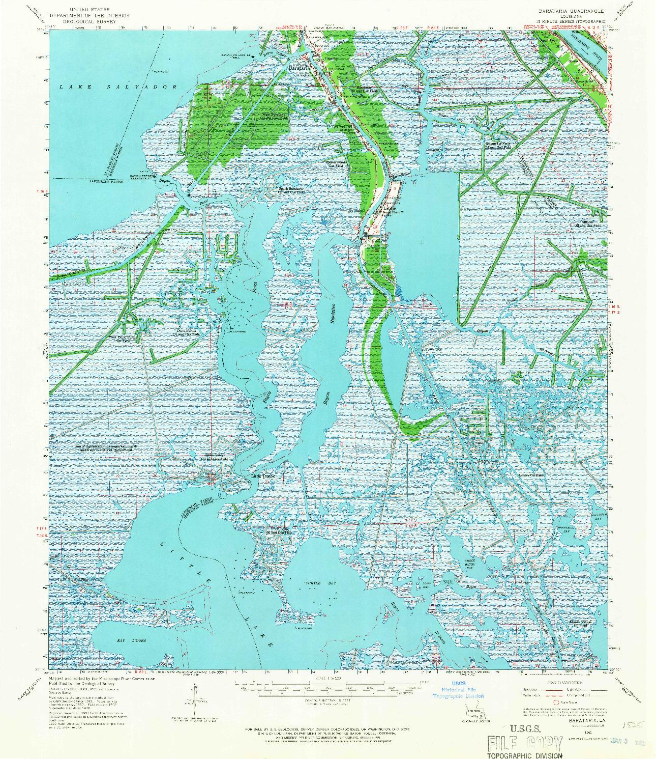 USGS 1:62500-SCALE QUADRANGLE FOR BARATARIA, LA 1962
