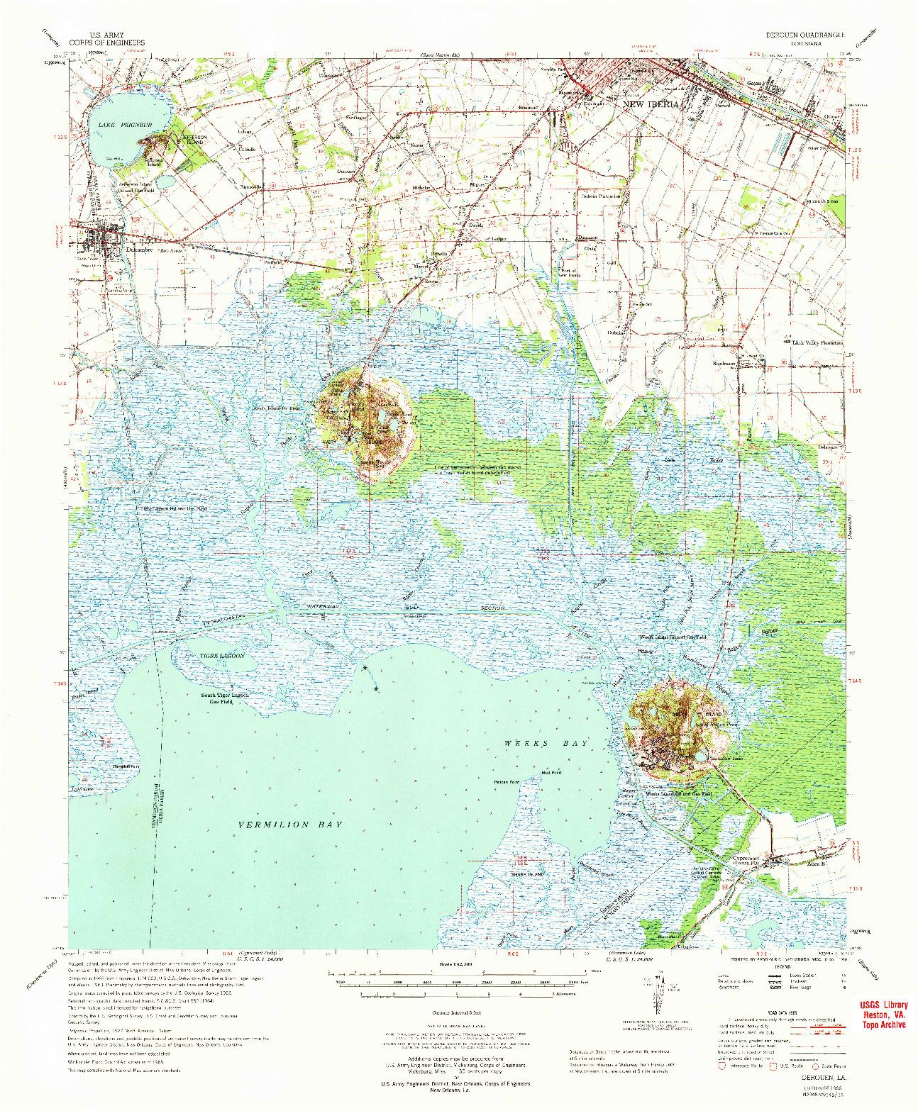 USGS 1:62500-SCALE QUADRANGLE FOR DEROUEN, LA 1966