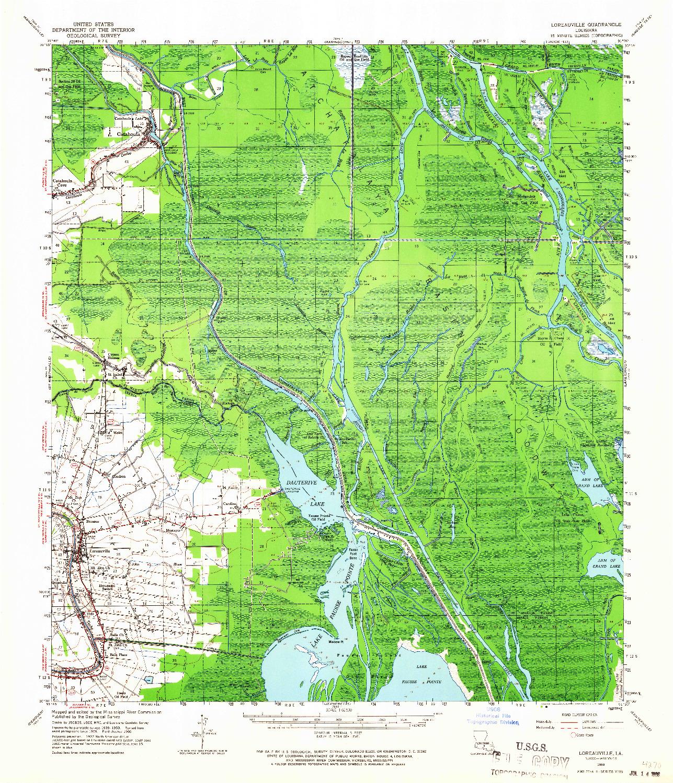 USGS 1:62500-SCALE QUADRANGLE FOR LOREAUVILLE, LA 1960