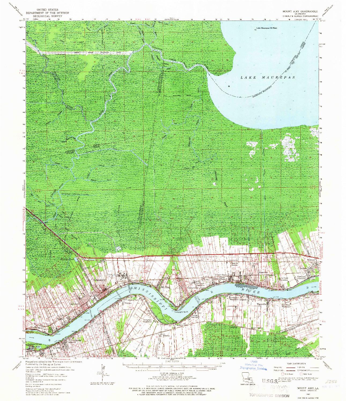 USGS 1:62500-SCALE QUADRANGLE FOR MOUNT AIRY, LA 1962