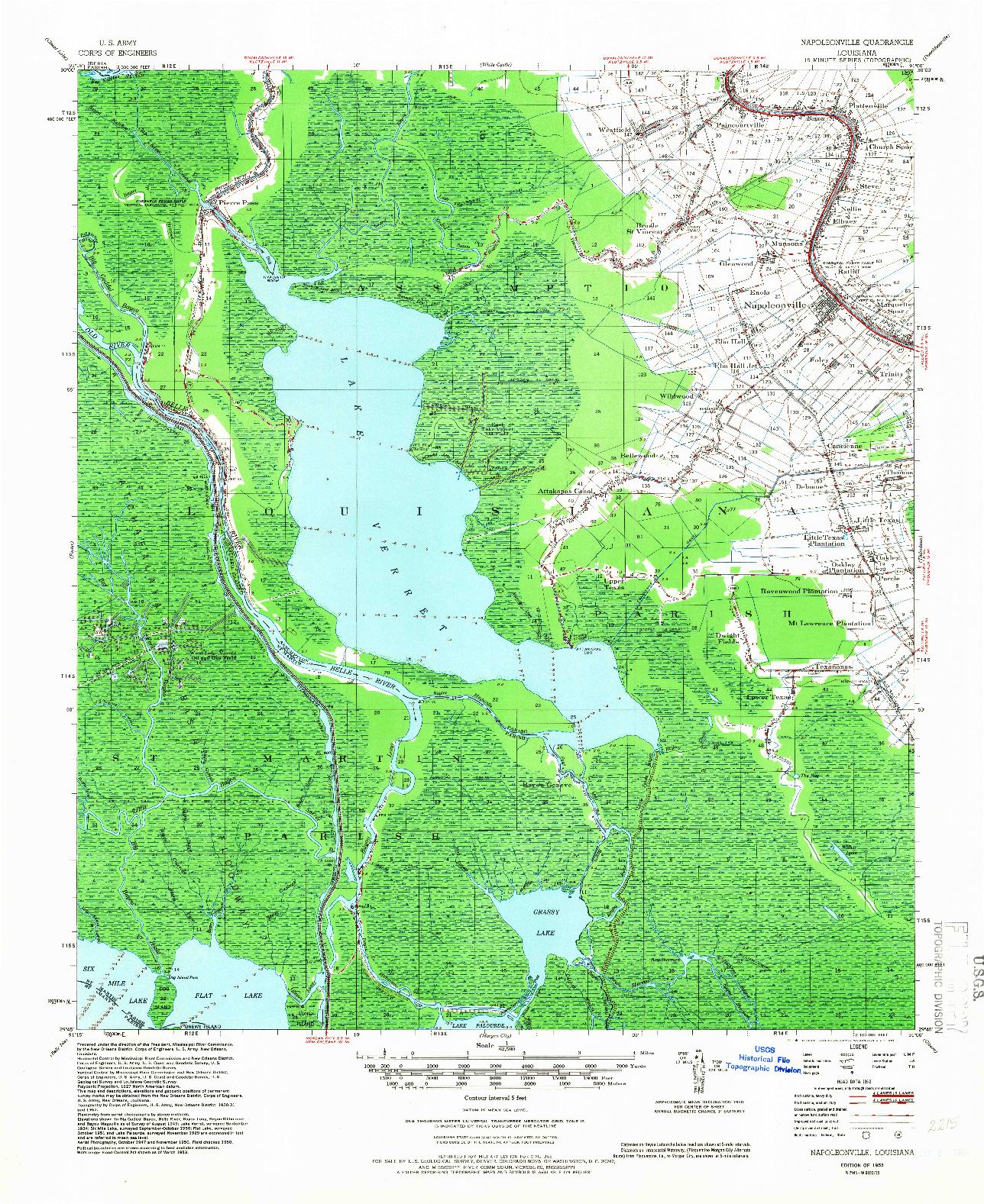 USGS 1:62500-SCALE QUADRANGLE FOR NAPOLEONVILLE, LA 1953