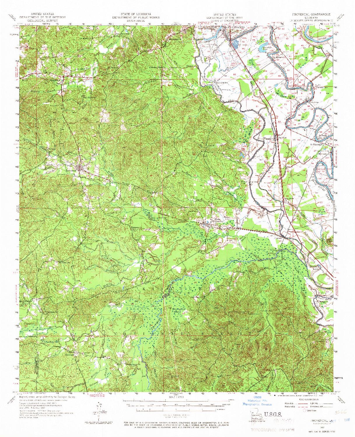 USGS 1:62500-SCALE QUADRANGLE FOR PROVENCAL, LA 1957