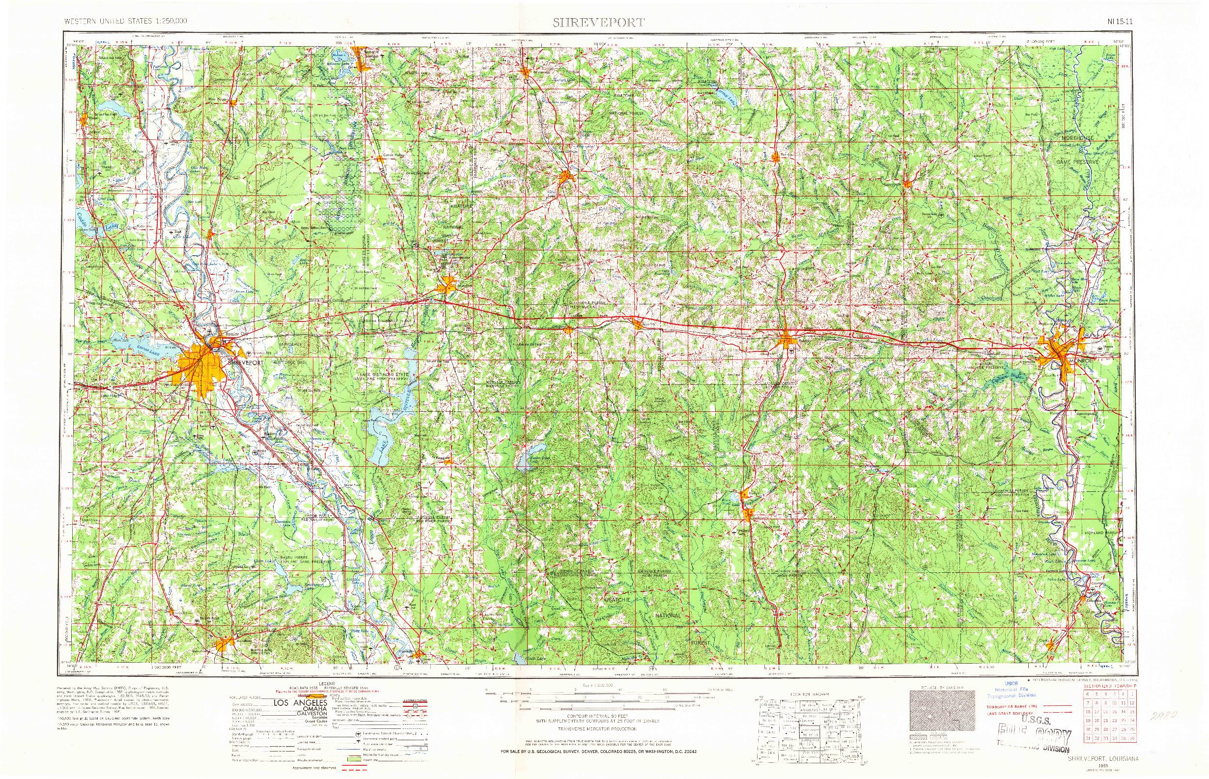 USGS 1:250000-SCALE QUADRANGLE FOR SHREVEPORT, LA 1955