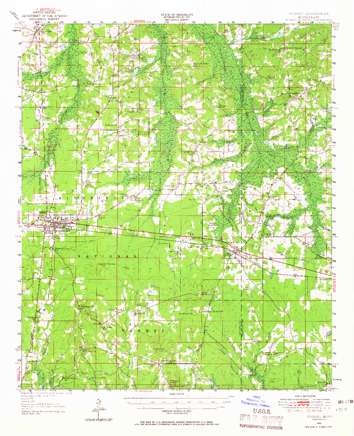 USGS 1:62500-SCALE QUADRANGLE FOR FOREST, MS 1950