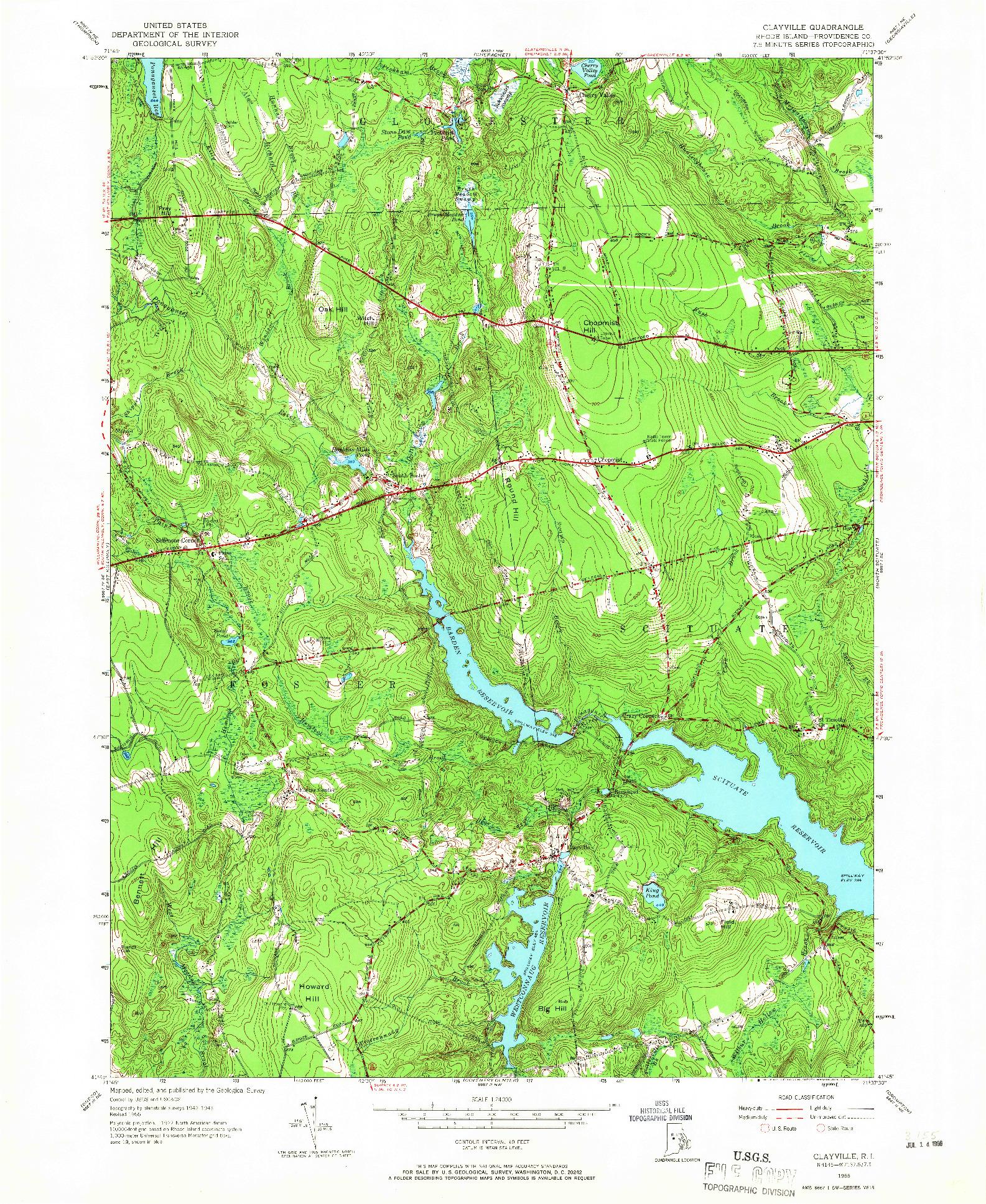 USGS 1:24000-SCALE QUADRANGLE FOR CLAYVILLE, RI 1955