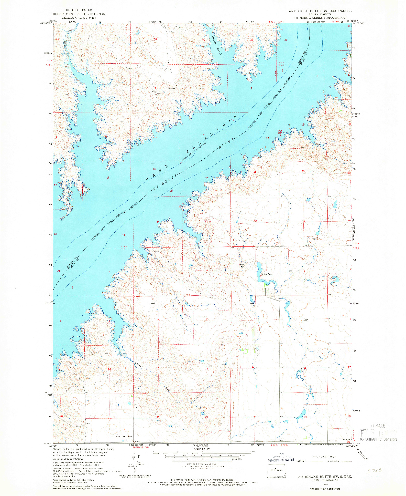 USGS 1:24000-SCALE QUADRANGLE FOR ARTICHOKE BUTTE SW, SD 1965
