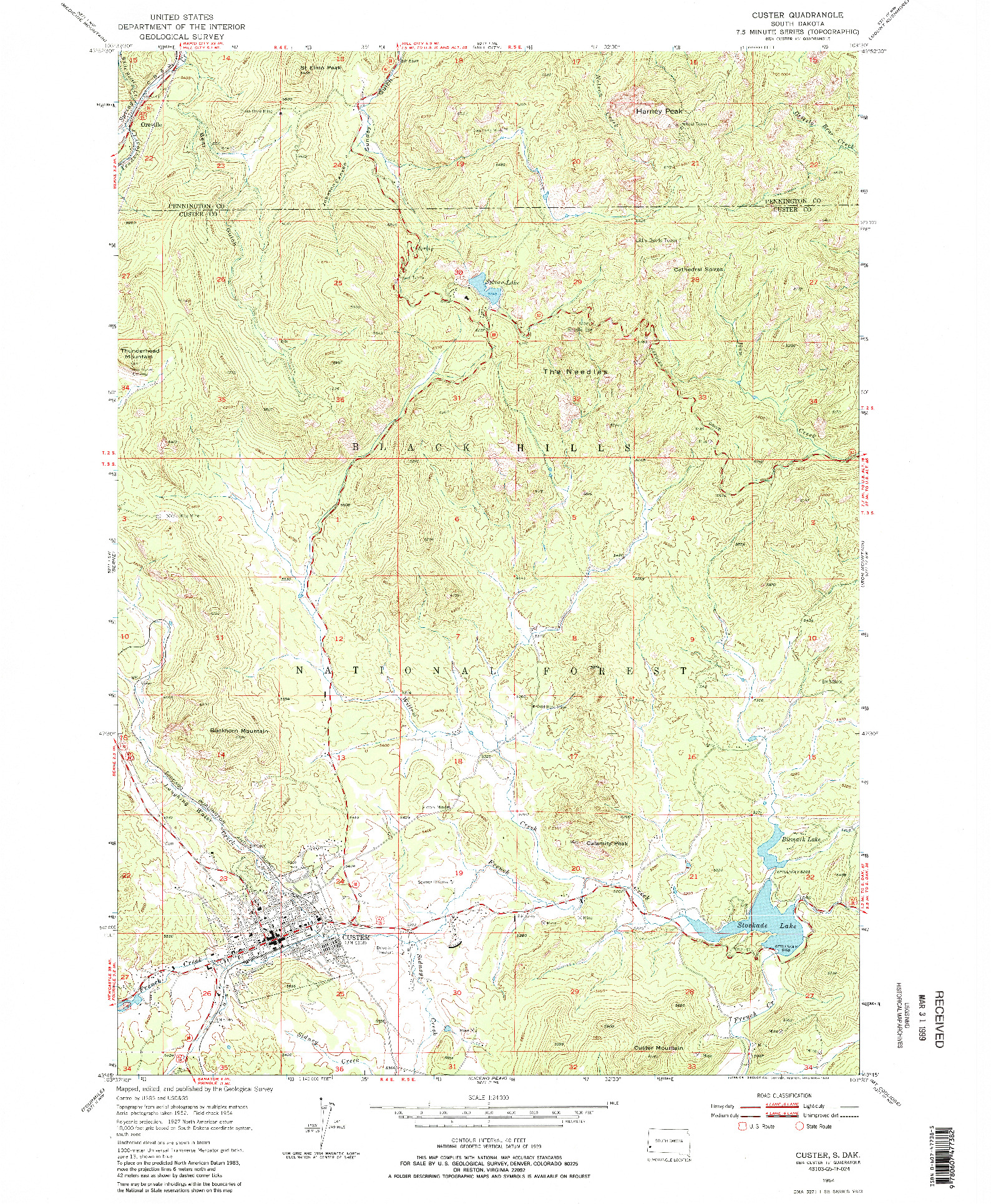 USGS 1:24000-SCALE QUADRANGLE FOR CUSTER, SD 1954