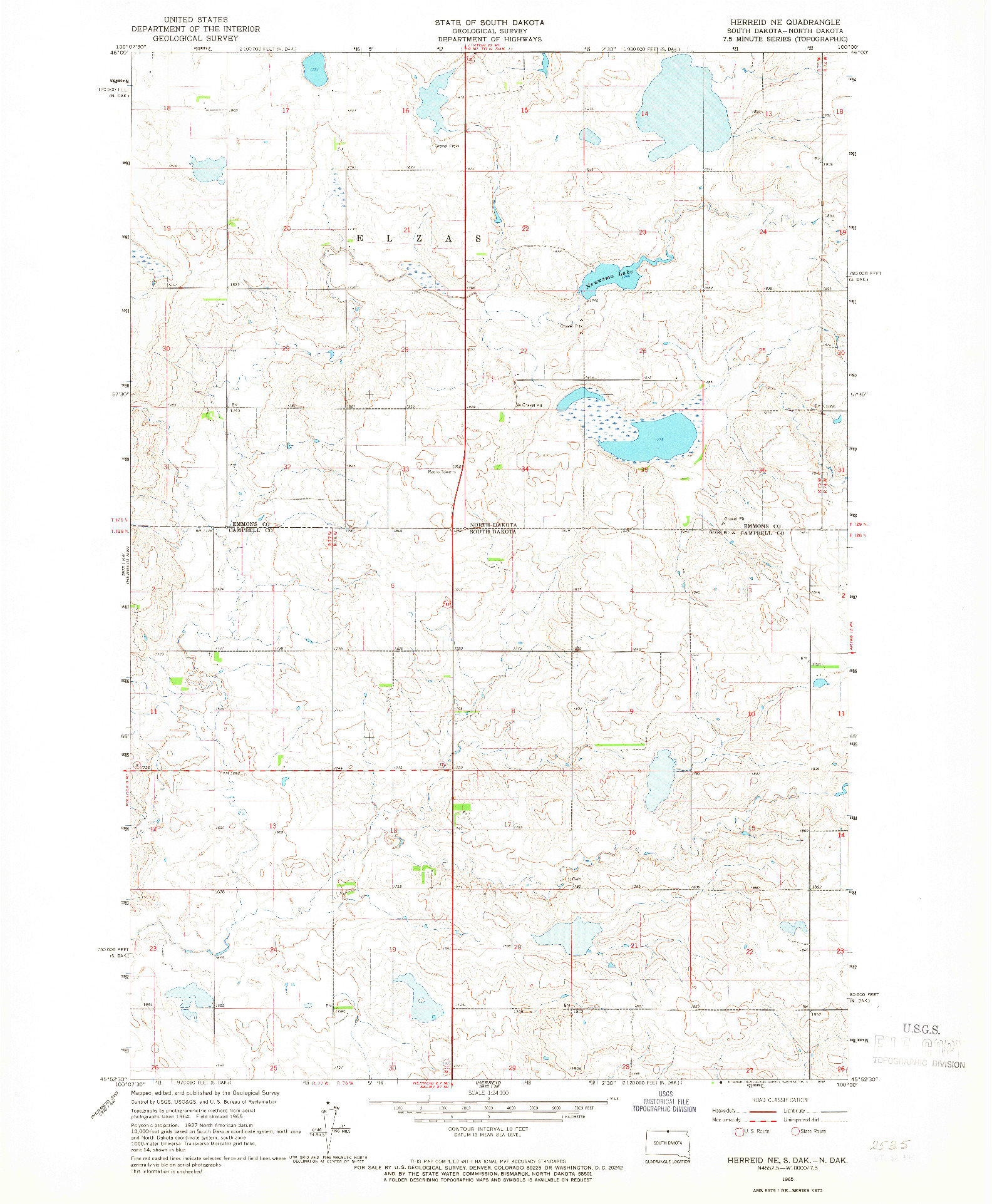 USGS 1:24000-SCALE QUADRANGLE FOR HERREID NE, SD 1965