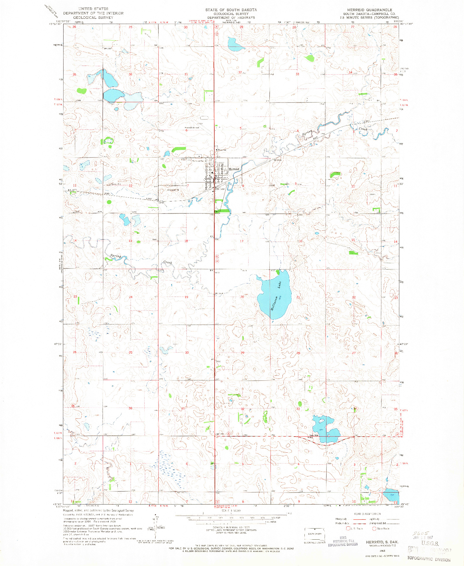 USGS 1:24000-SCALE QUADRANGLE FOR HERREID, SD 1965
