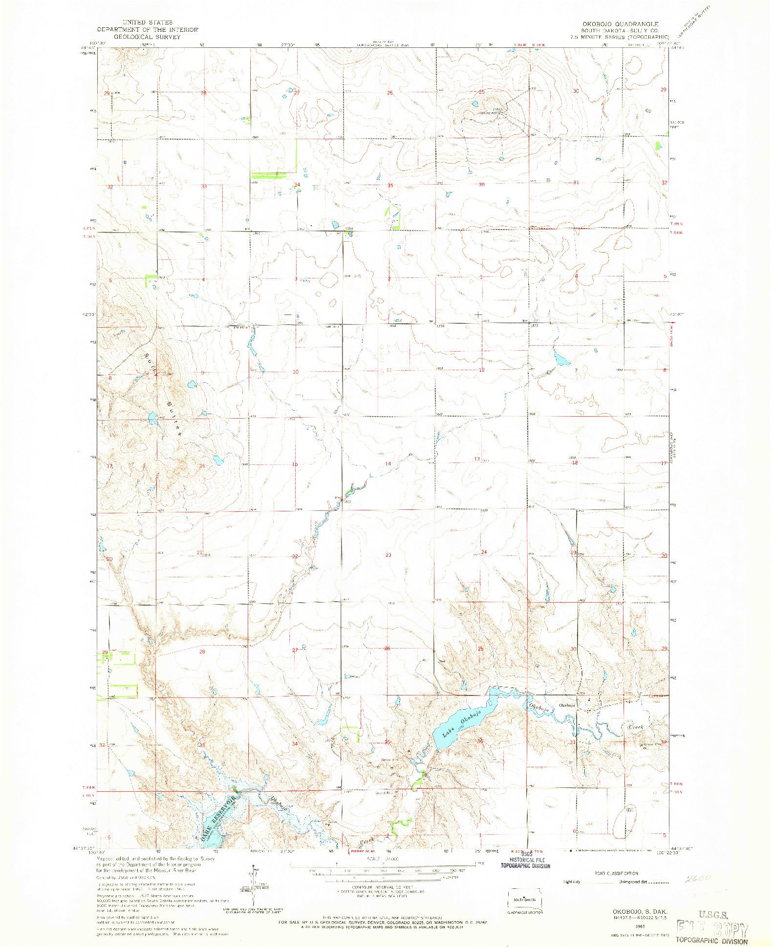 USGS 1:24000-SCALE QUADRANGLE FOR OKOBOJO, SD 1965
