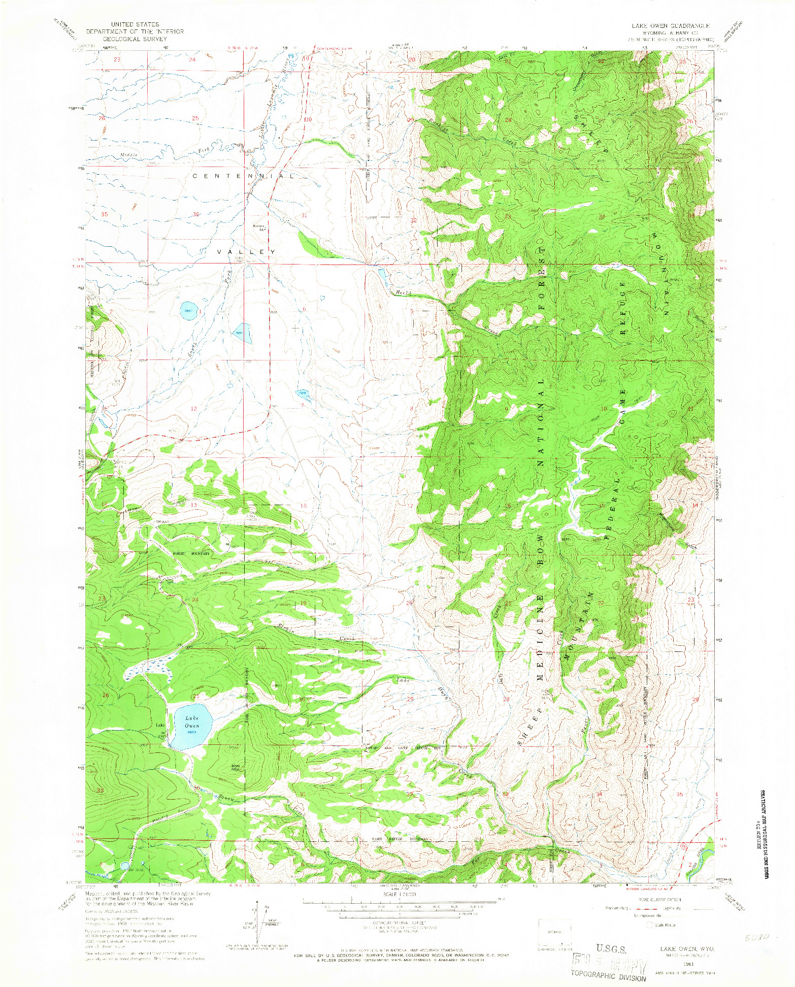 USGS 1:24000-SCALE QUADRANGLE FOR LAKE OWEN, WY 1961