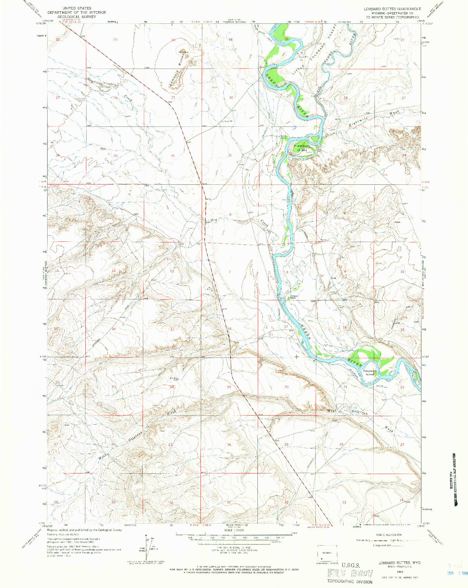 USGS 1:24000-SCALE QUADRANGLE FOR LOMBARD BUTTES, WY 1963