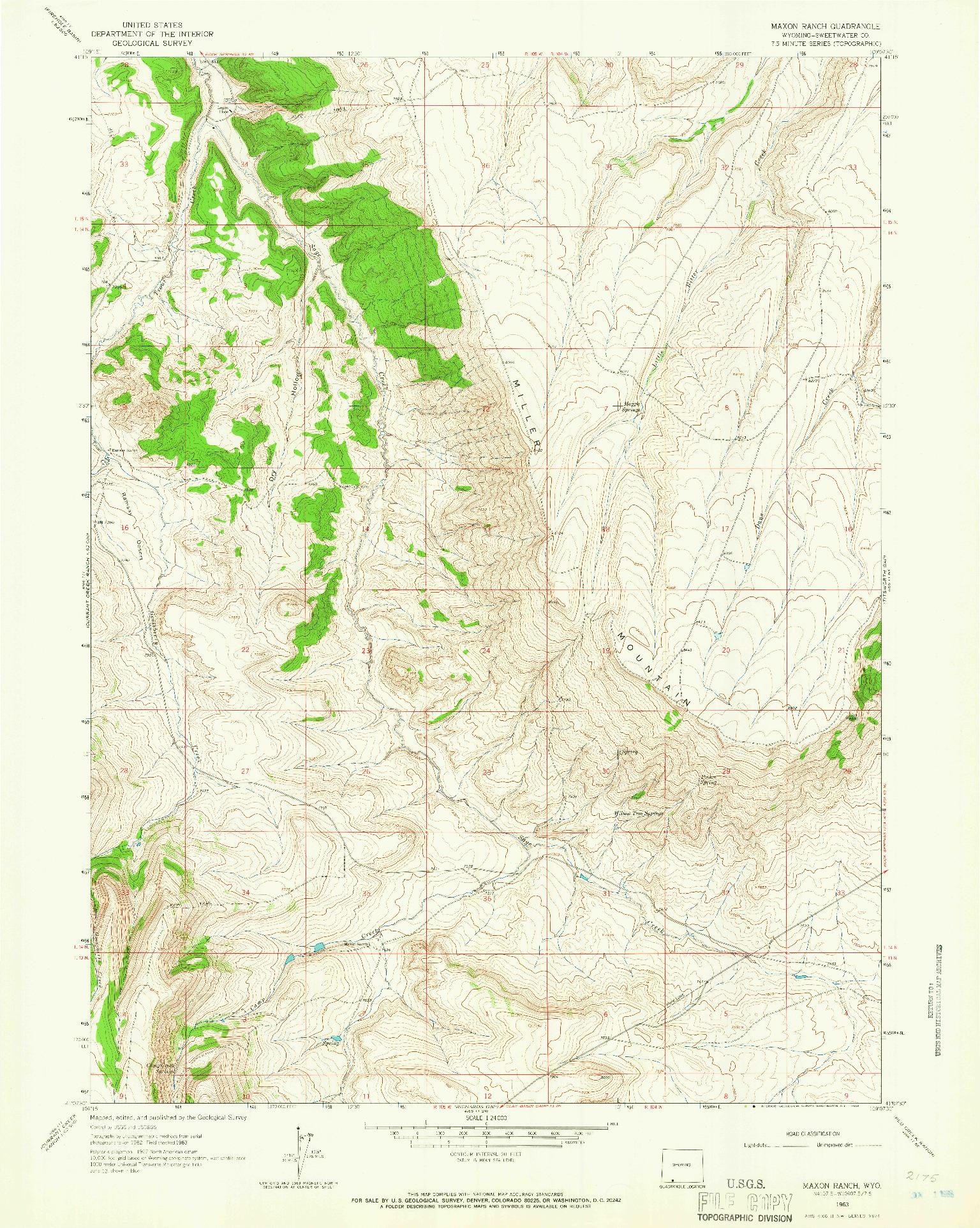 USGS 1:24000-SCALE QUADRANGLE FOR MAXON RANCH, WY 1963