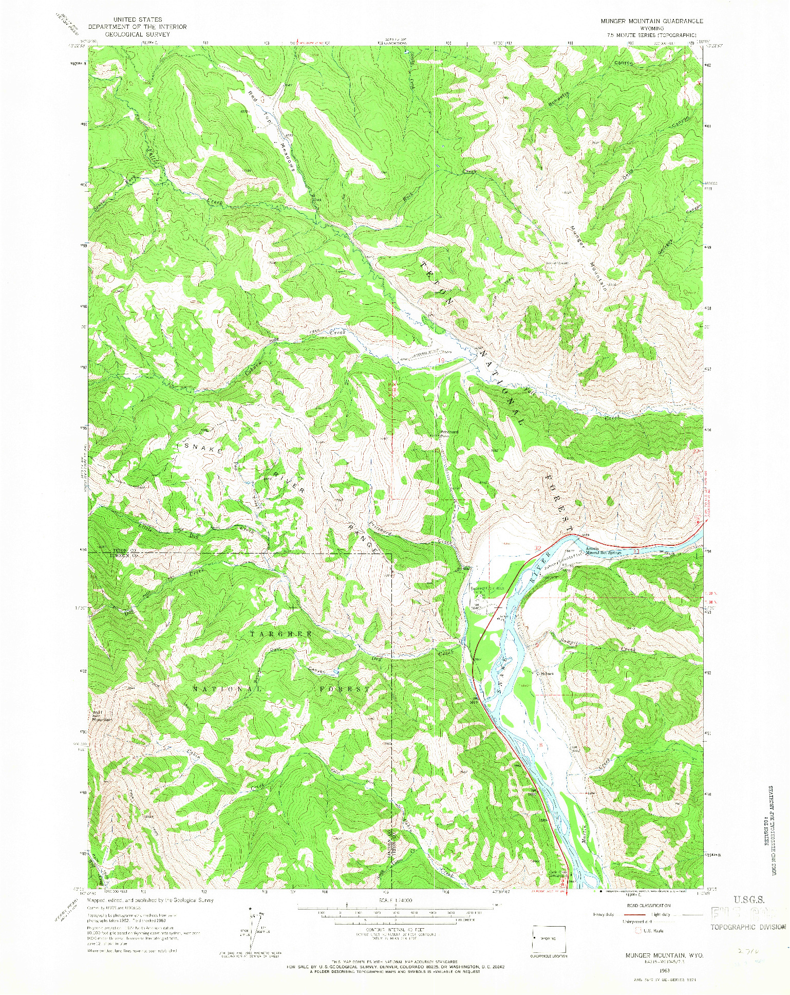 USGS 1:24000-SCALE QUADRANGLE FOR MUNGER MOUNTAIN, WY 1963