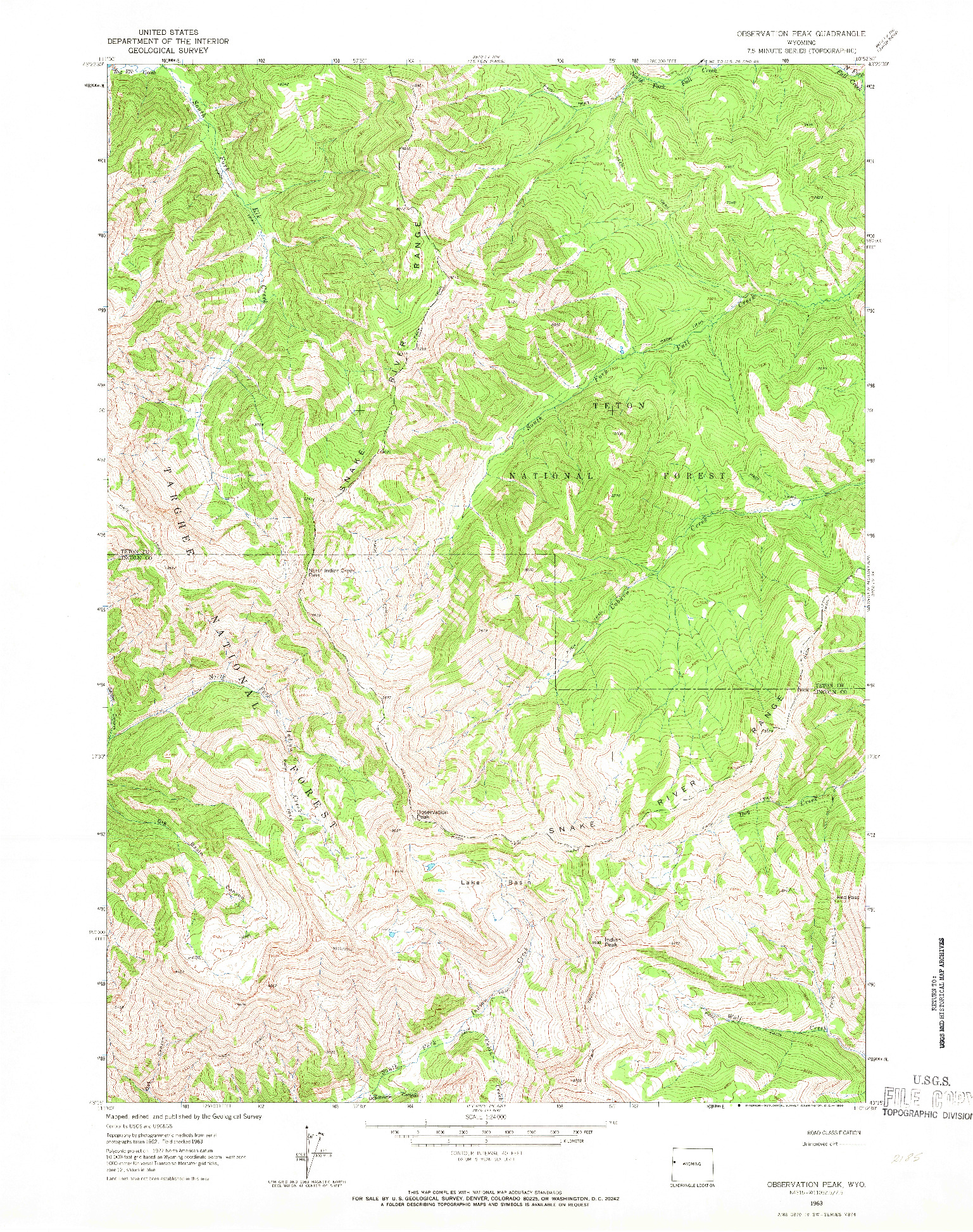USGS 1:24000-SCALE QUADRANGLE FOR OBSERVATION PEAK, WY 1963