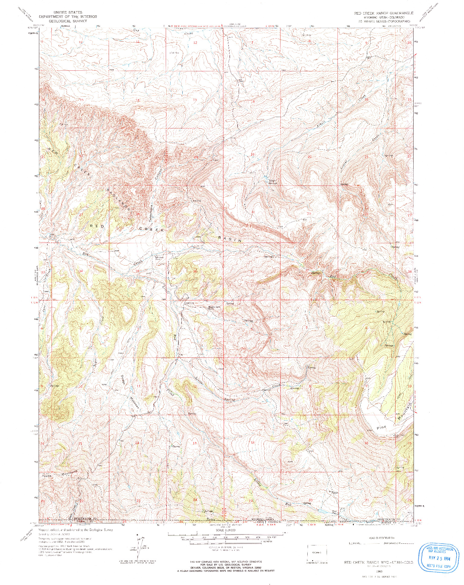 USGS 1:24000-SCALE QUADRANGLE FOR RED CREEK RANCH, WY 1963