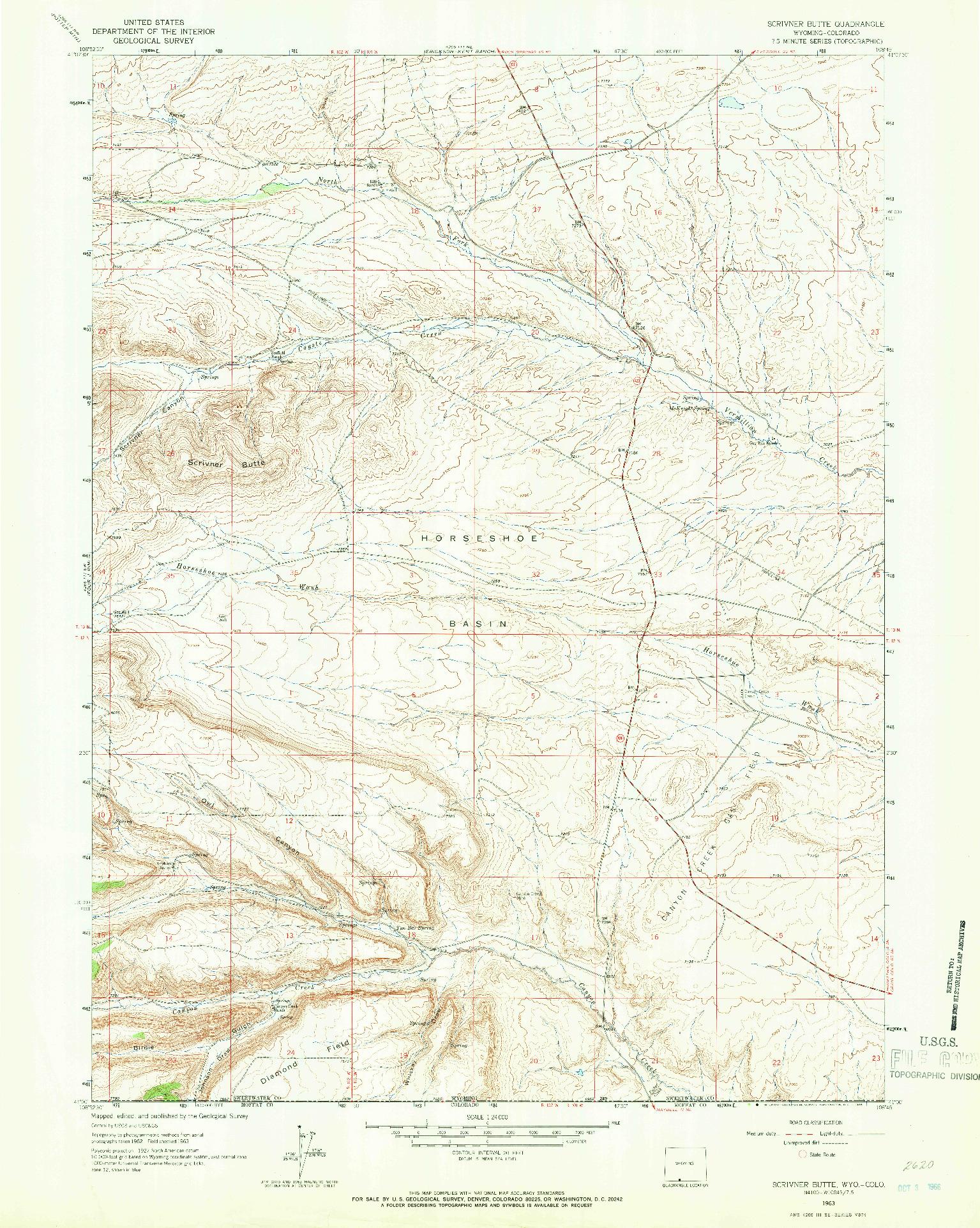 USGS 1:24000-SCALE QUADRANGLE FOR SCRIVNER BUTTE, WY 1963