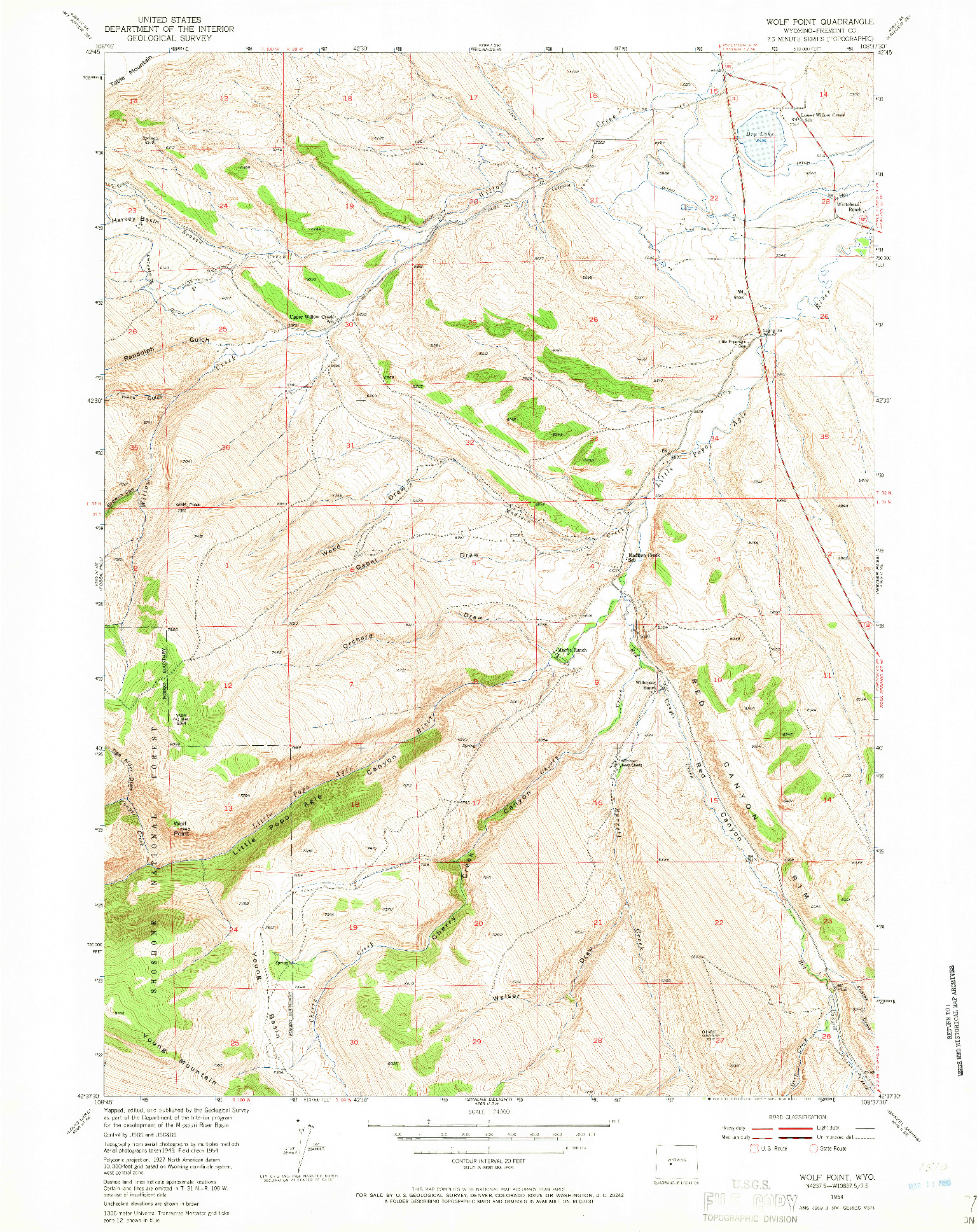 USGS 1:24000-SCALE QUADRANGLE FOR WOLF POINT, WY 1954