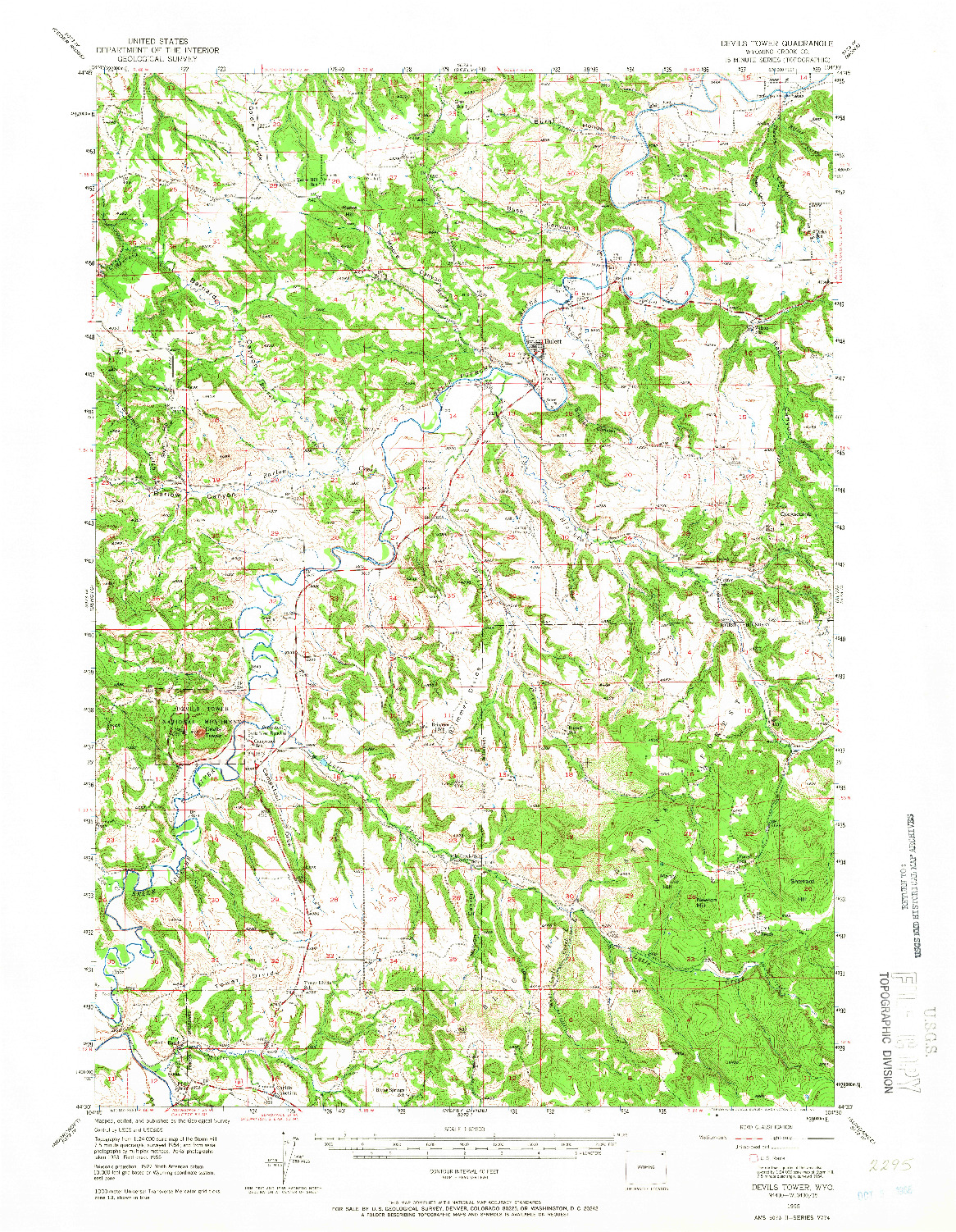 USGS 1:62500-SCALE QUADRANGLE FOR DEVILS TOWER, WY 1955