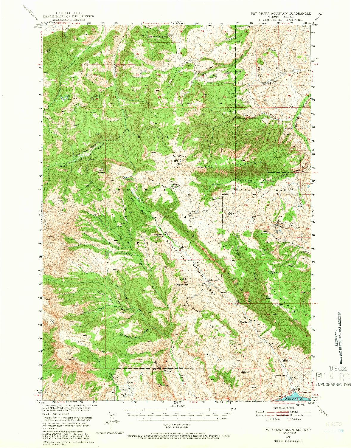 USGS 1:62500-SCALE QUADRANGLE FOR PAT O'HARA MOUNTAIN, WY 1949