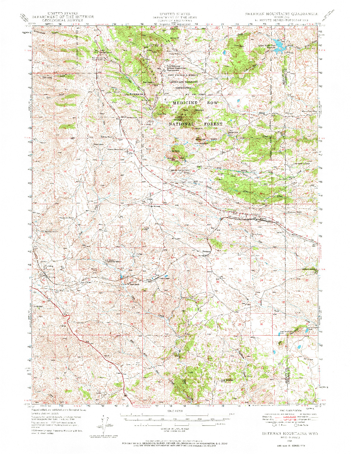 USGS 1:62500-SCALE QUADRANGLE FOR SHERMAN MOUNTAINS, WY 1948