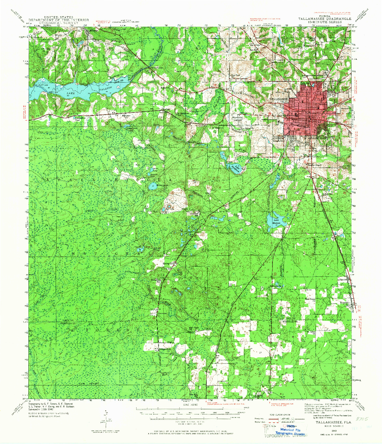 USGS 1:62500-SCALE QUADRANGLE FOR TALLAHASSEE, FL 1940
