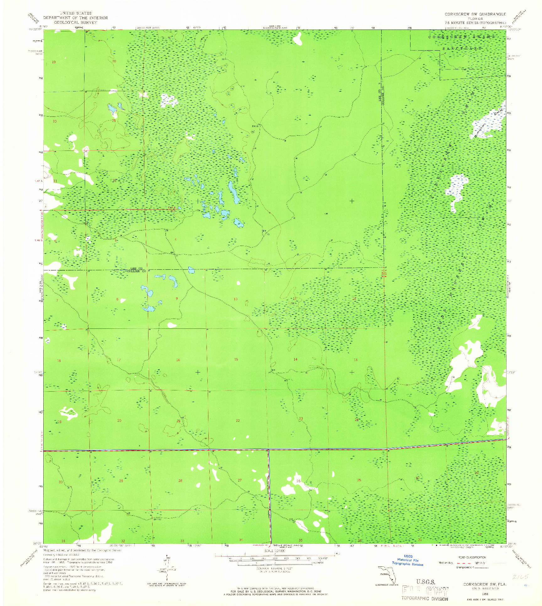 USGS 1:24000-SCALE QUADRANGLE FOR CORKSCREW SW, FL 1958