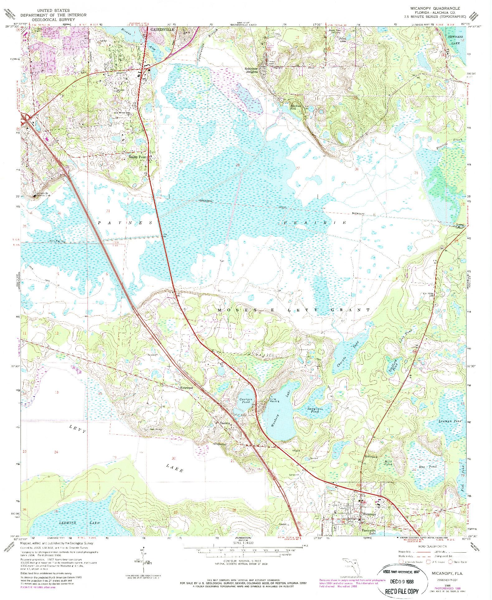 USGS 1:24000-SCALE QUADRANGLE FOR MICANOPY, FL 1966