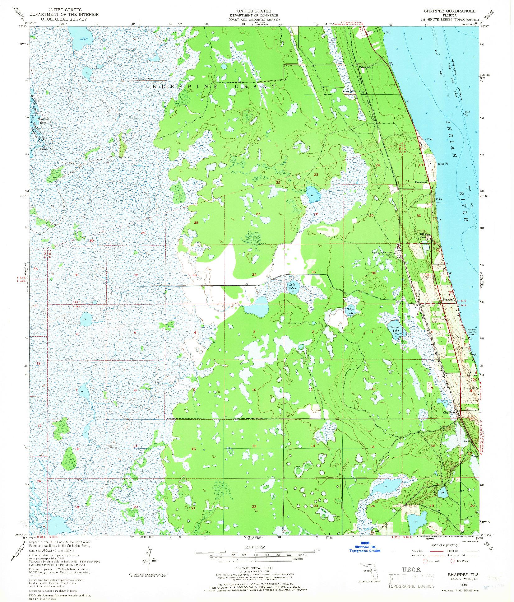 USGS 1:24000-SCALE QUADRANGLE FOR SHARPES, FL 1949