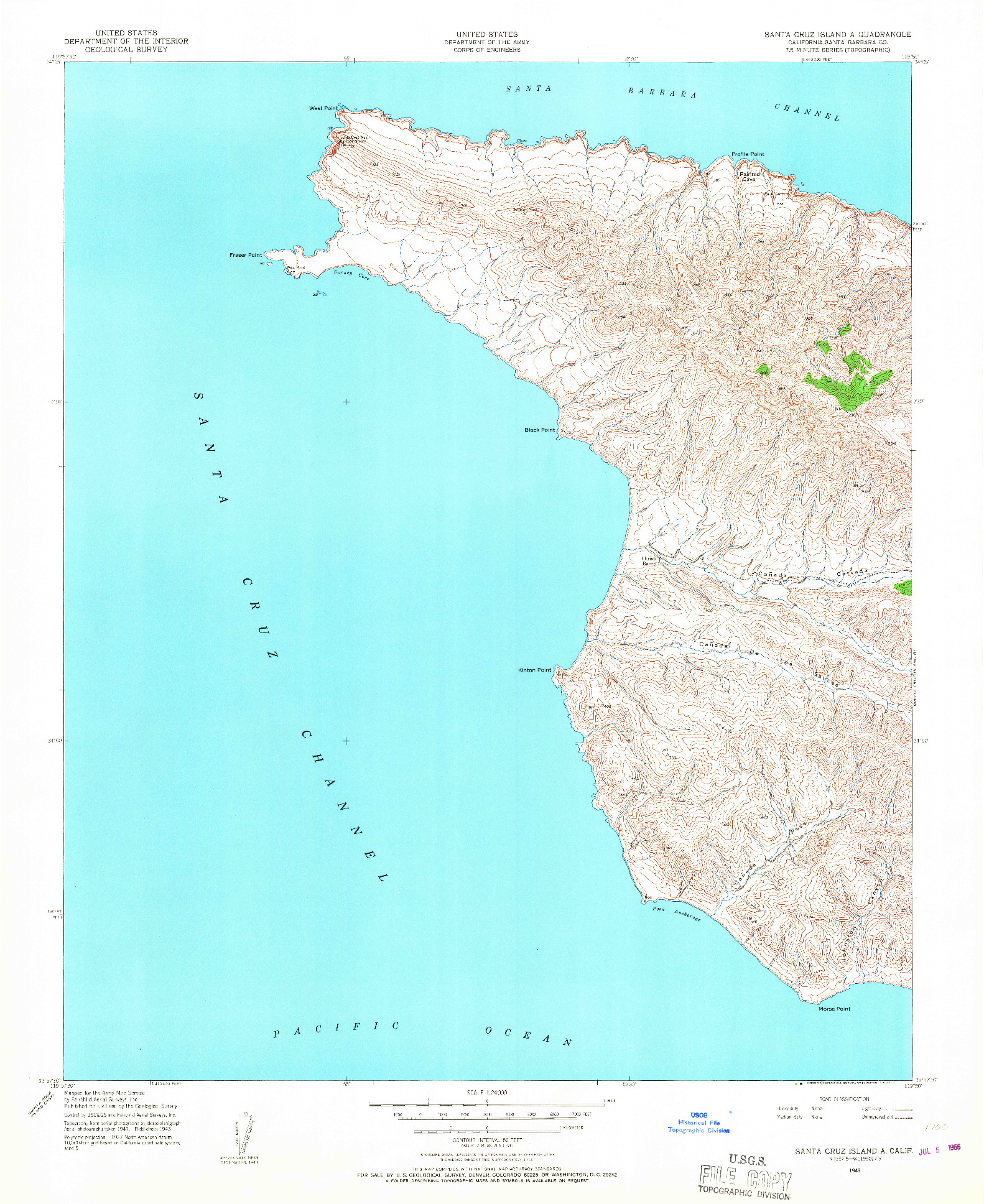 USGS 1:24000-SCALE QUADRANGLE FOR SANTA CRUZ ISLAND A, CA 1943