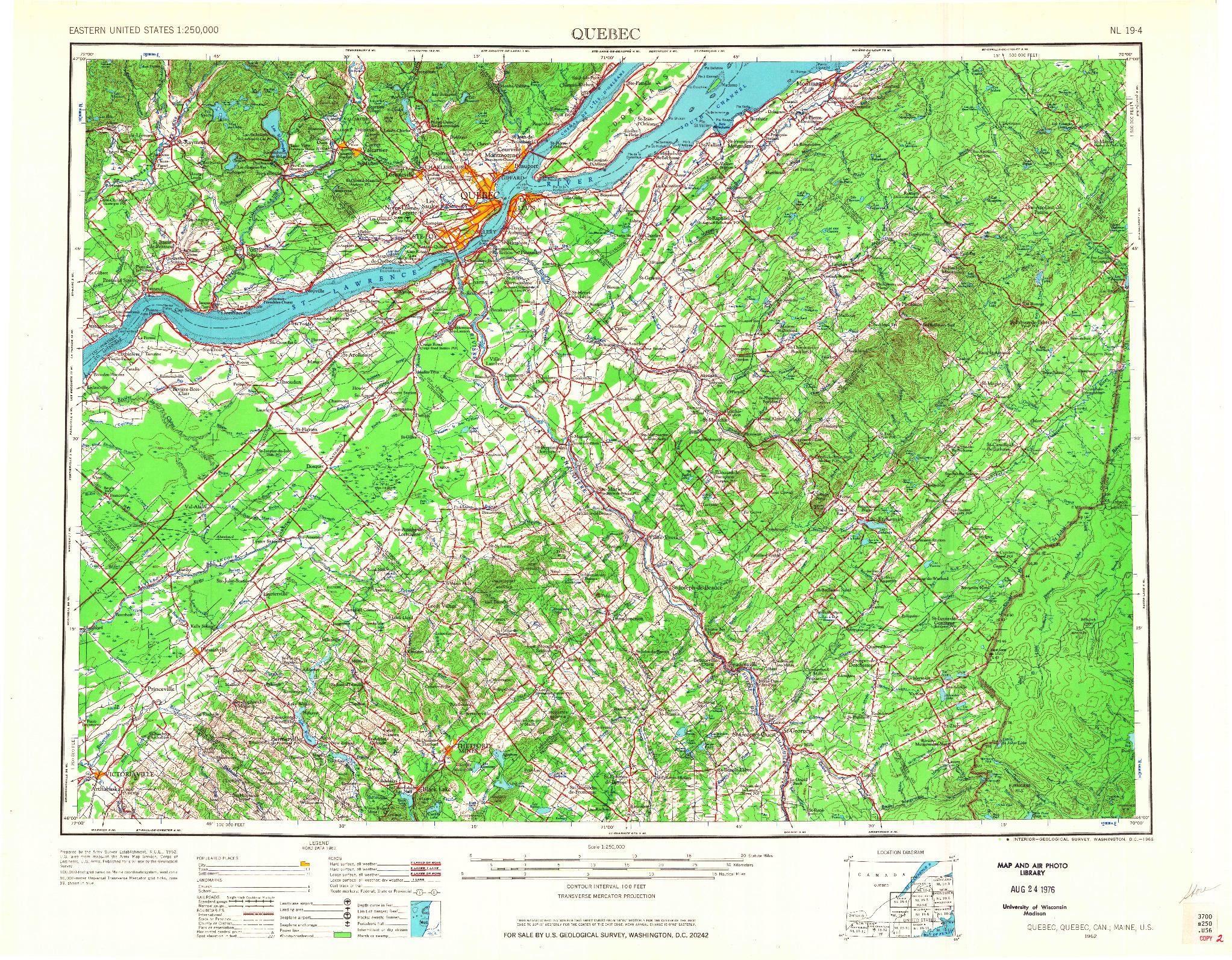USGS 1:250000-SCALE QUADRANGLE FOR QUEBEC, ME 1962