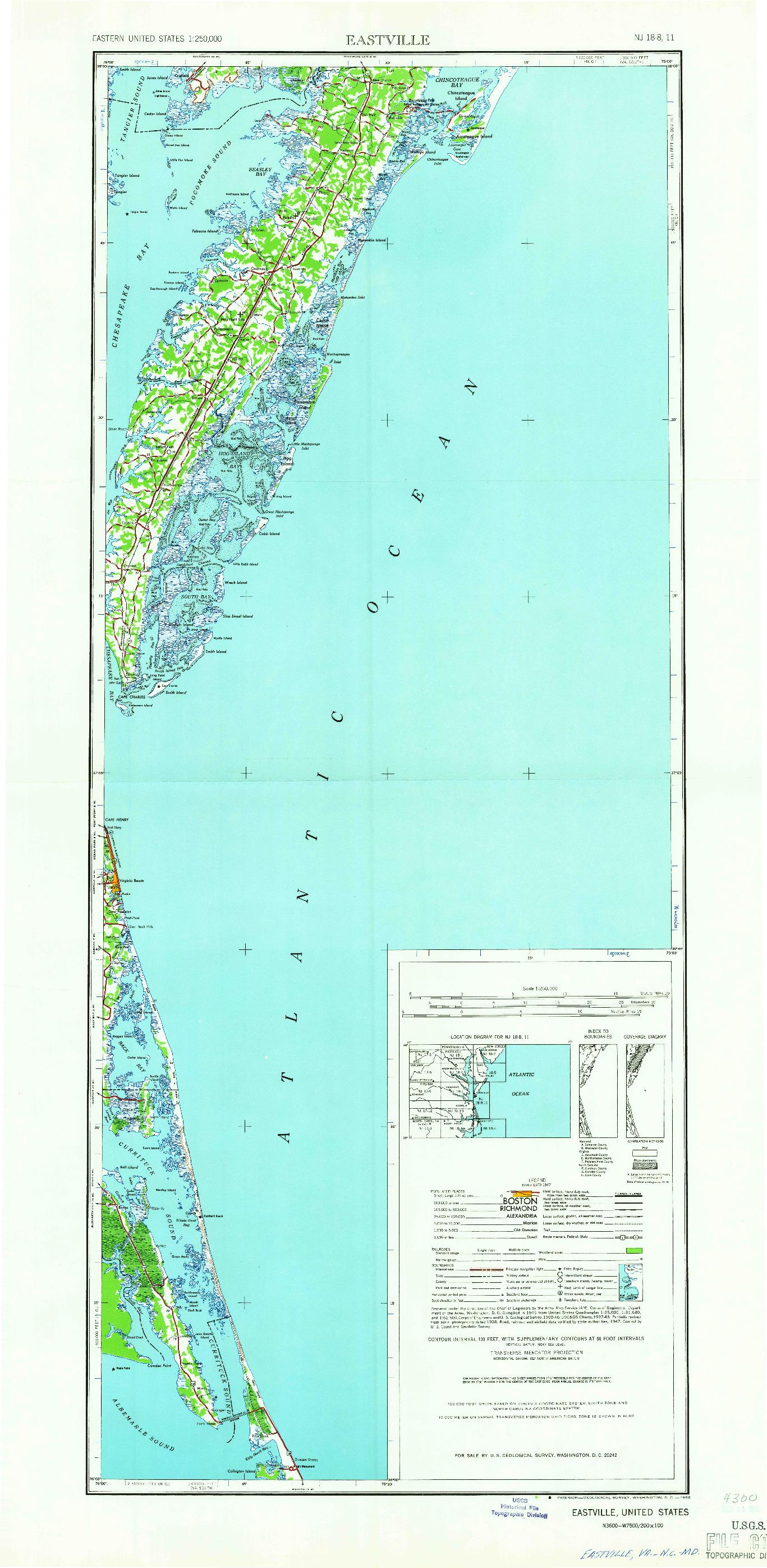 USGS 1:250000-SCALE QUADRANGLE FOR EASTVILLE, VA 1966