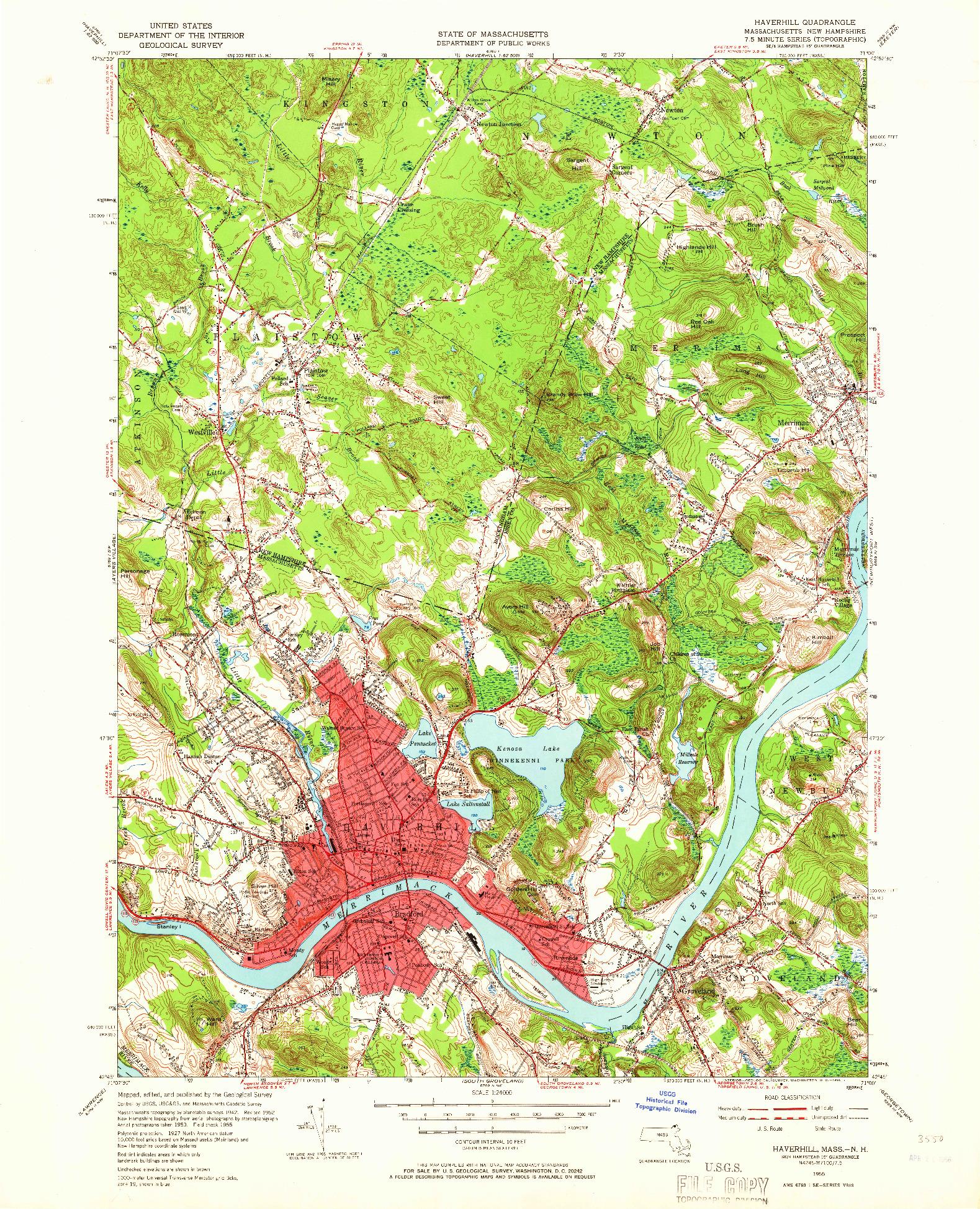 USGS 1:24000-SCALE QUADRANGLE FOR HAVERHILL, MA 1955