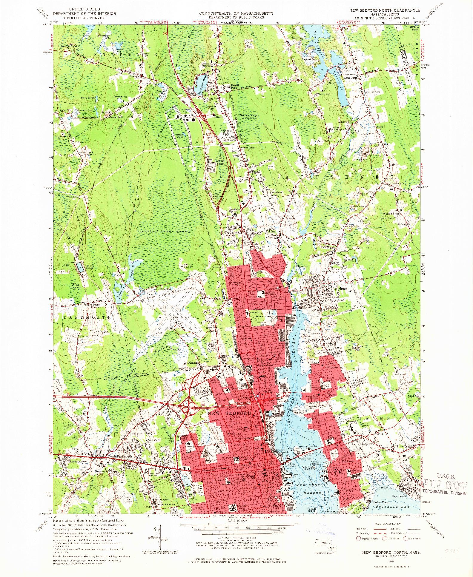 USGS 1:24000-SCALE QUADRANGLE FOR NEW BEDFORD NORTH, MA 1964