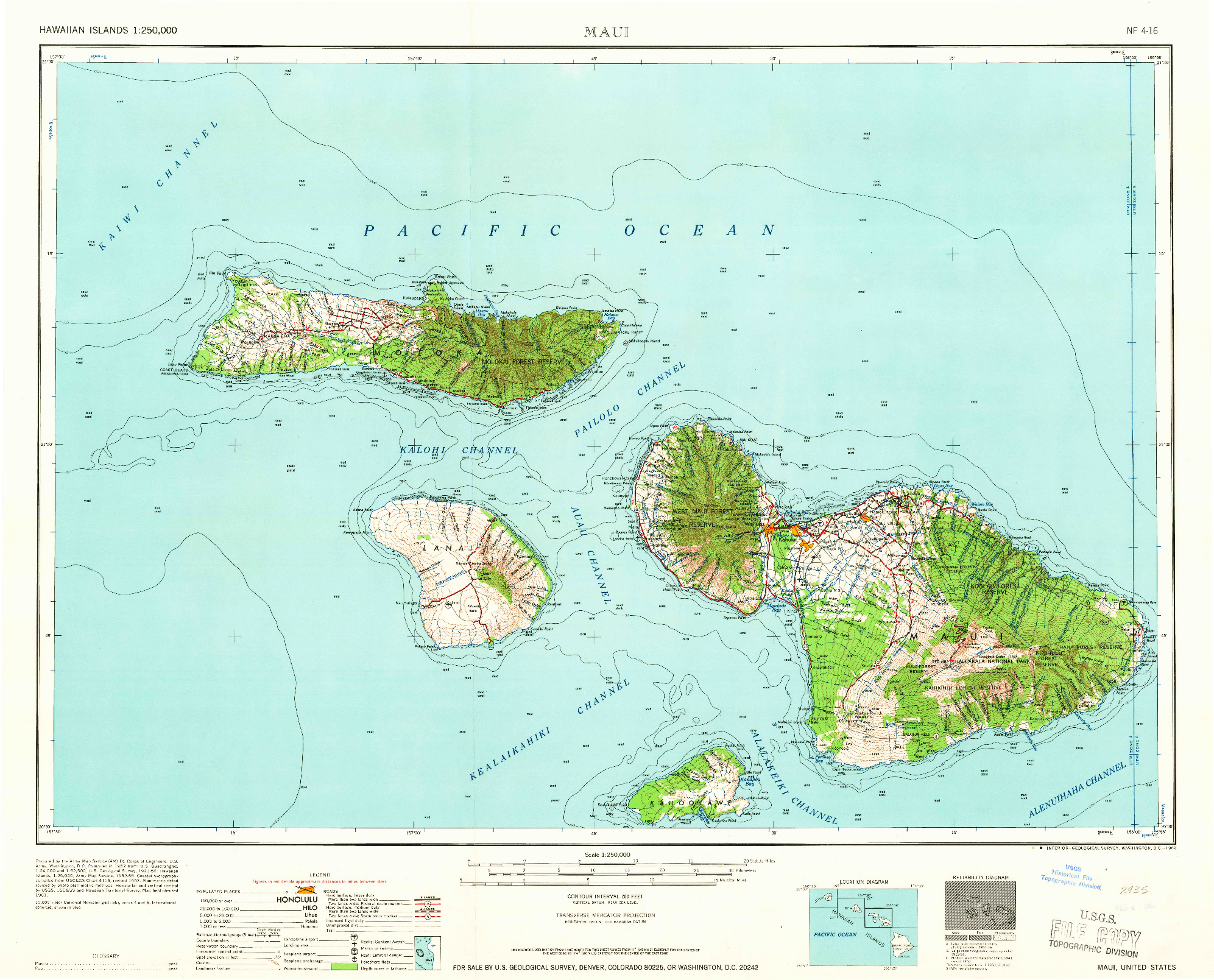 USGS 1:250000-SCALE QUADRANGLE FOR MAUI, HI 1966