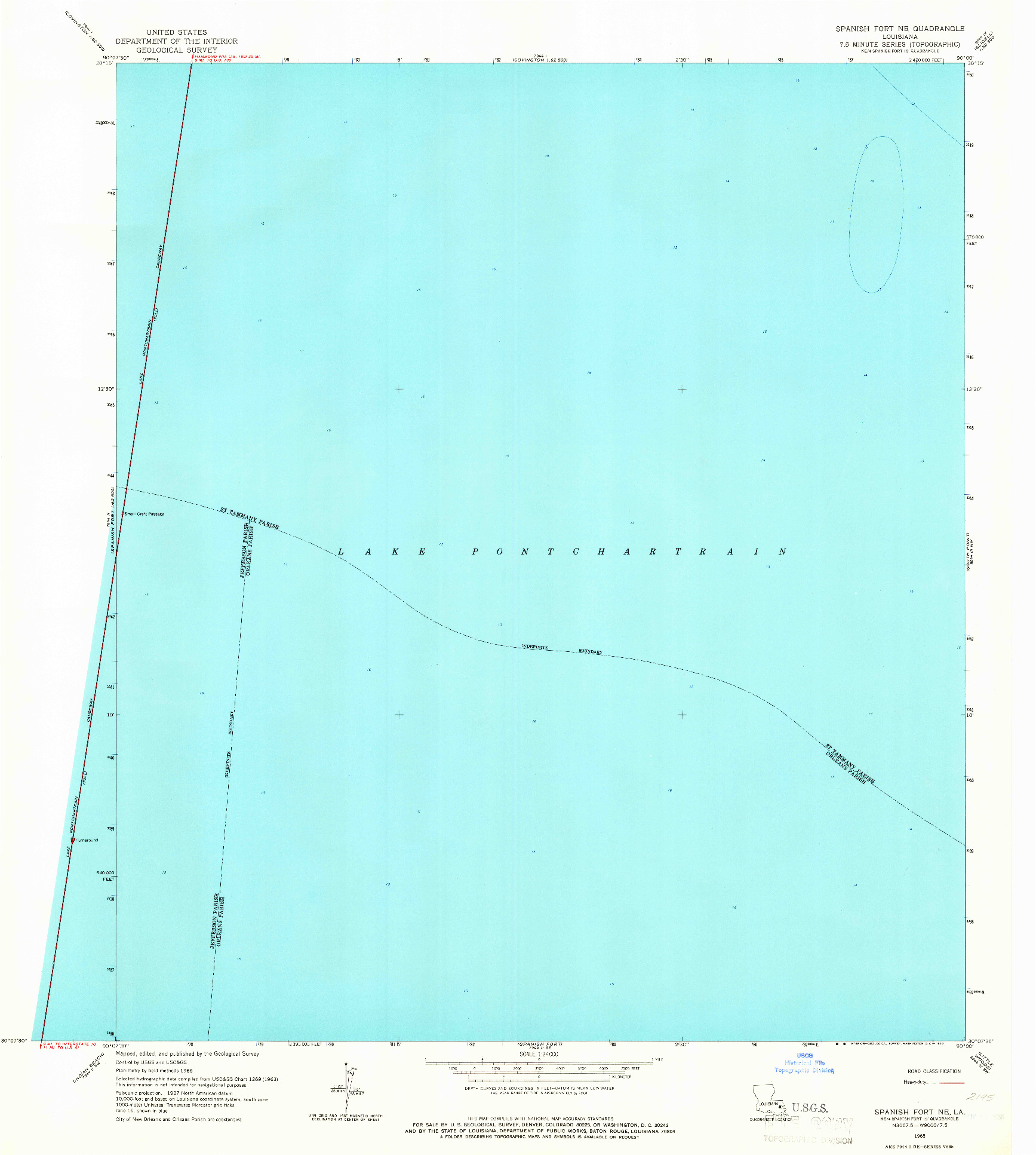 USGS 1:24000-SCALE QUADRANGLE FOR SPANISH FORT NE, LA 1965