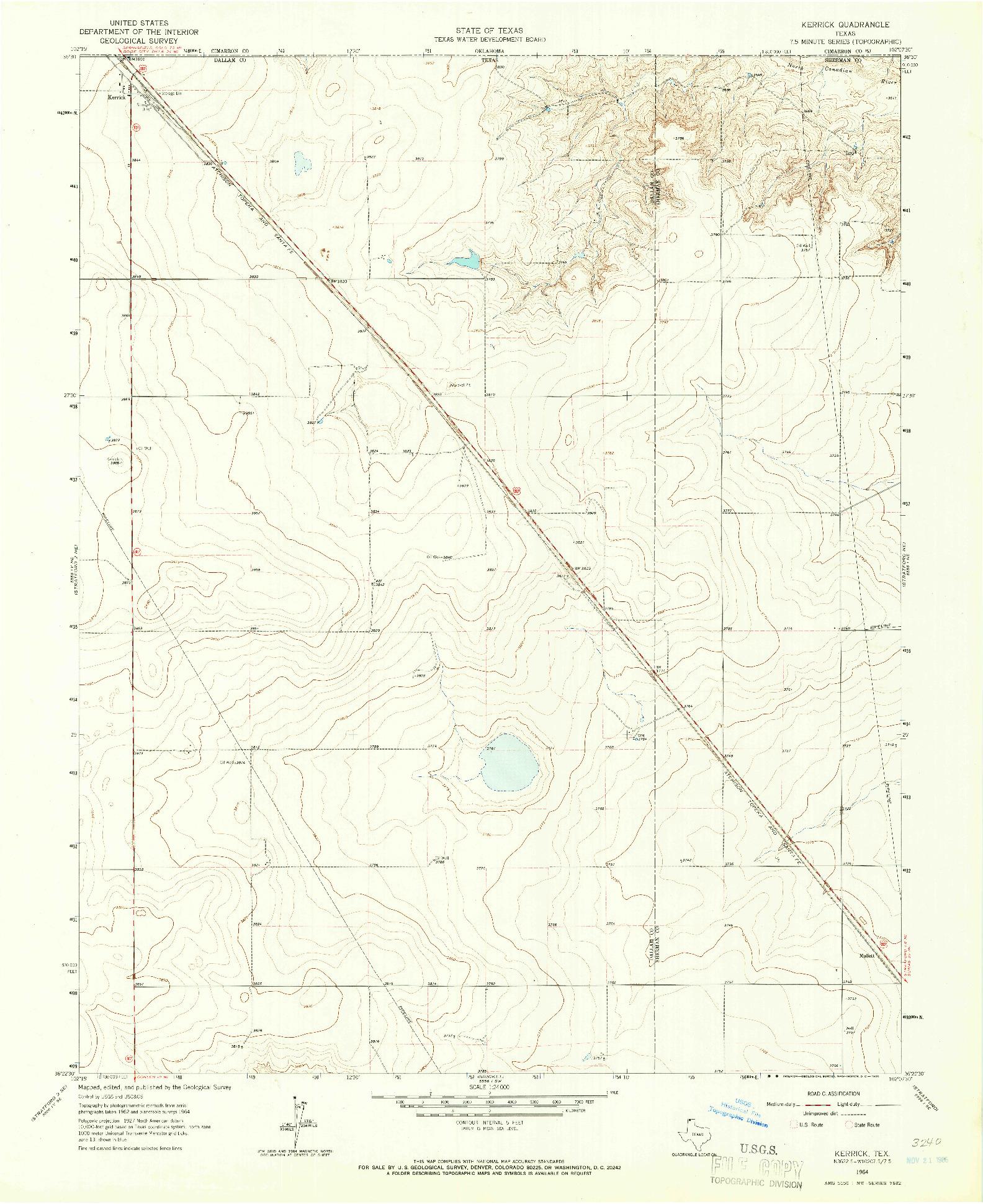 USGS 1:24000-SCALE QUADRANGLE FOR KERRICK, TX 1964
