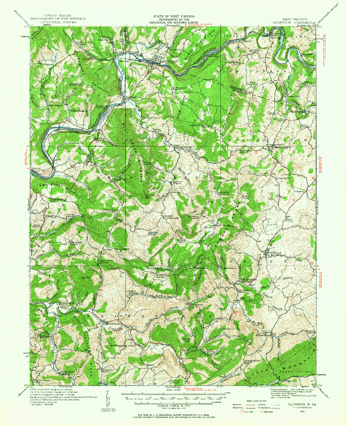 USGS 1:62500-SCALE QUADRANGLE FOR ALDERSON, WV 1921