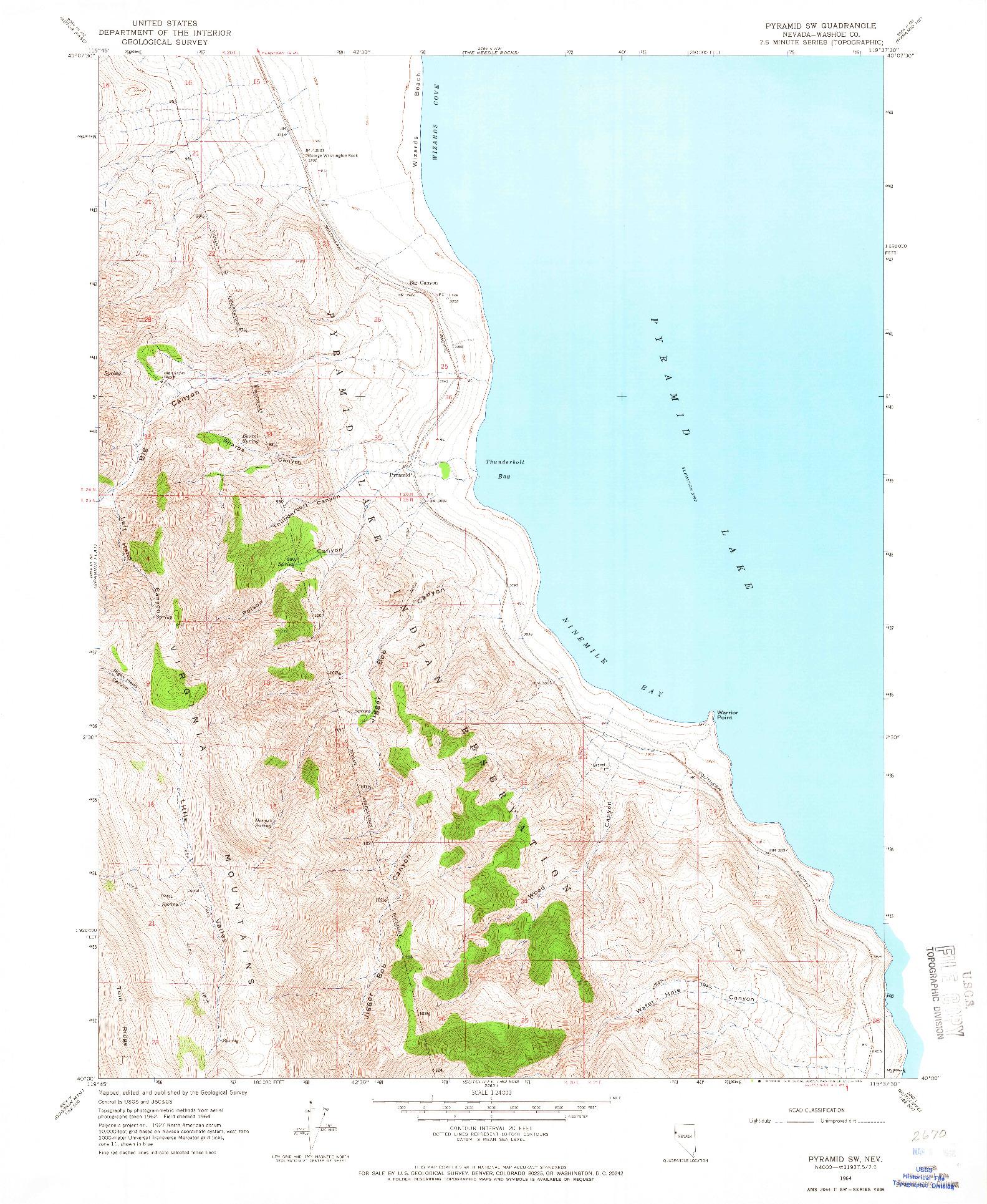 USGS 1:24000-SCALE QUADRANGLE FOR PYRAMID SW, NV 1964