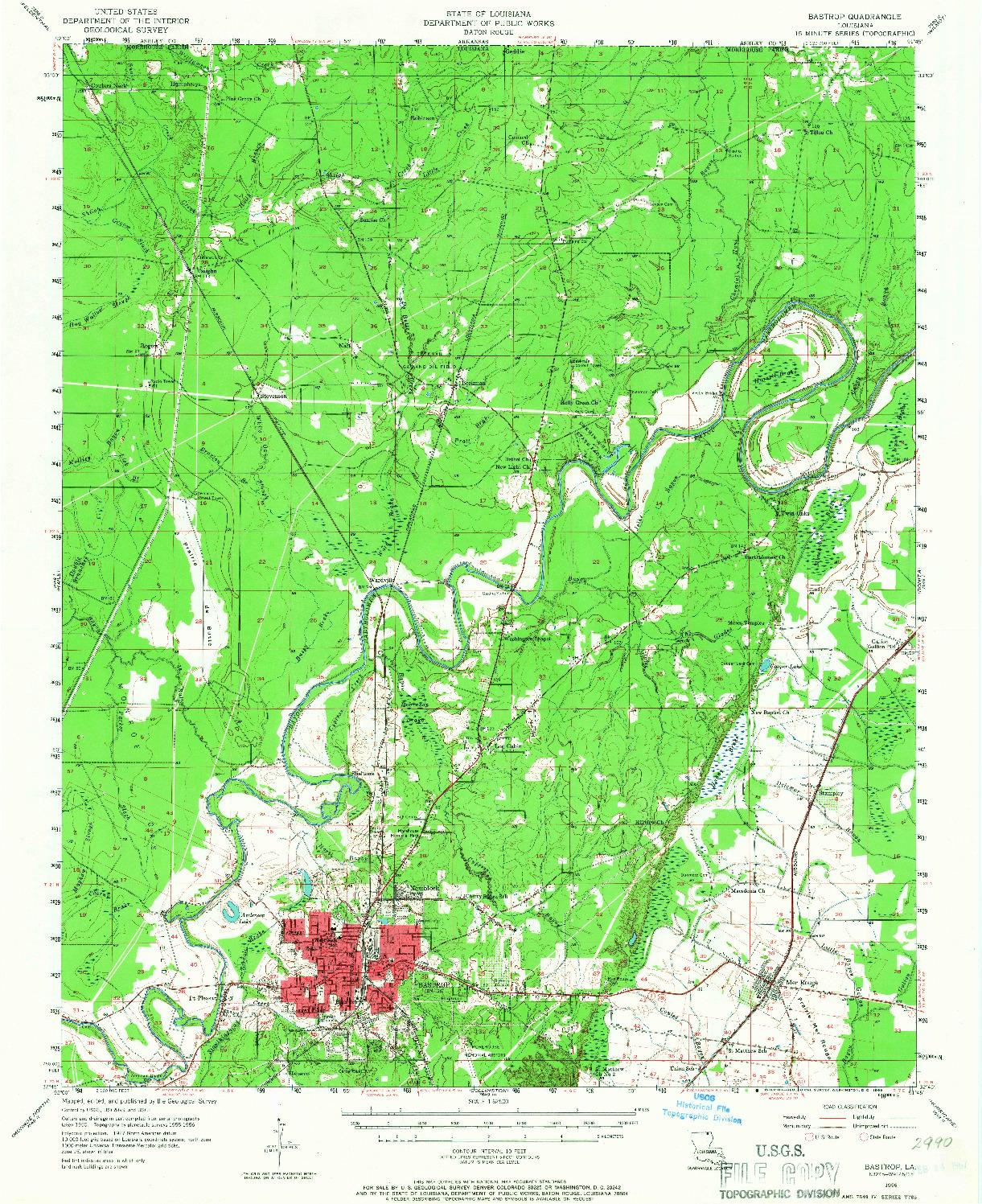 USGS 1:62500-SCALE QUADRANGLE FOR BASTROP, LA 1956