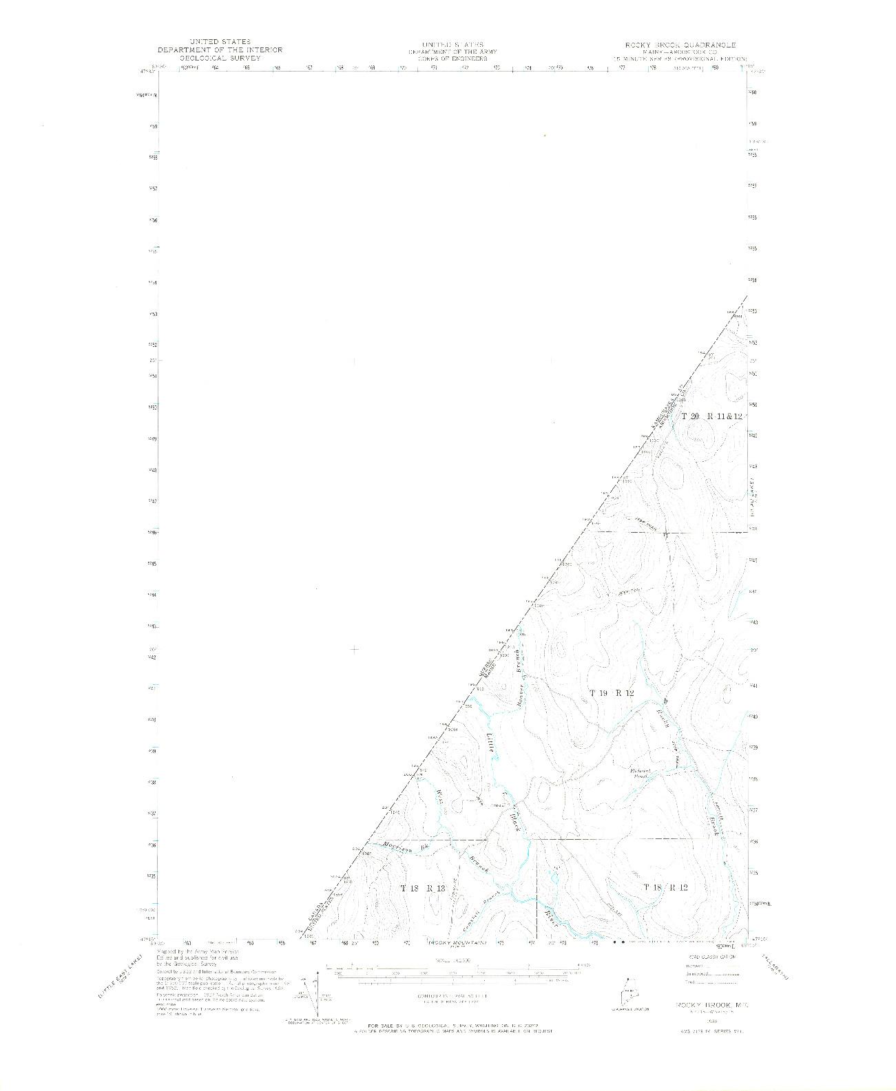 USGS 1:62500-SCALE QUADRANGLE FOR ROCKY BROOK, ME 1955