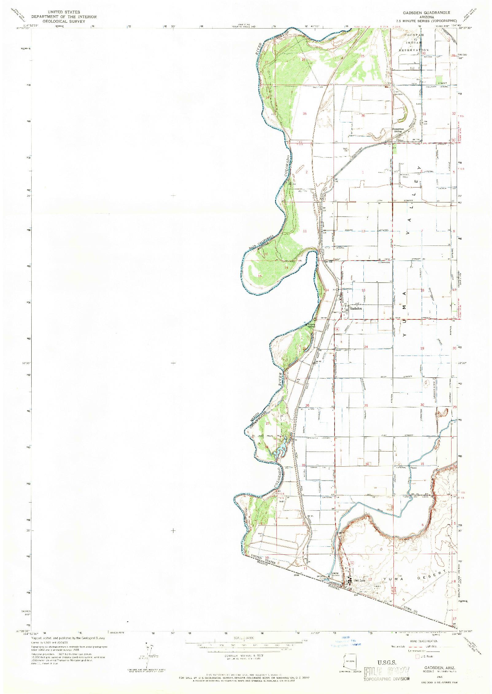 USGS 1:24000-SCALE QUADRANGLE FOR GADSDEN, AZ 1965