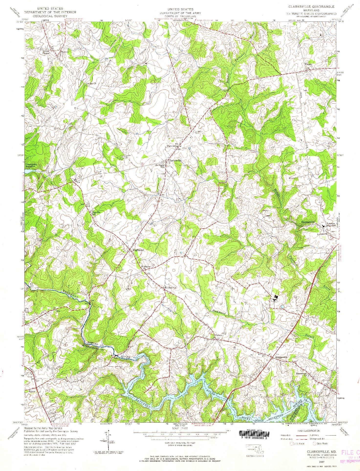 USGS 1:24000-SCALE QUADRANGLE FOR CLARKSVILLE, MD 1957