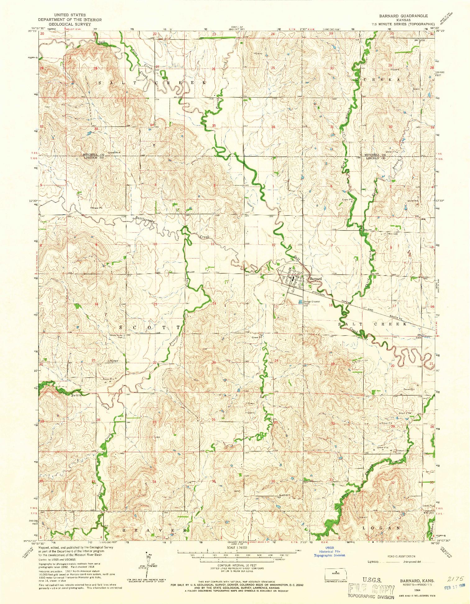 USGS 1:24000-SCALE QUADRANGLE FOR BARNARD, KS 1964