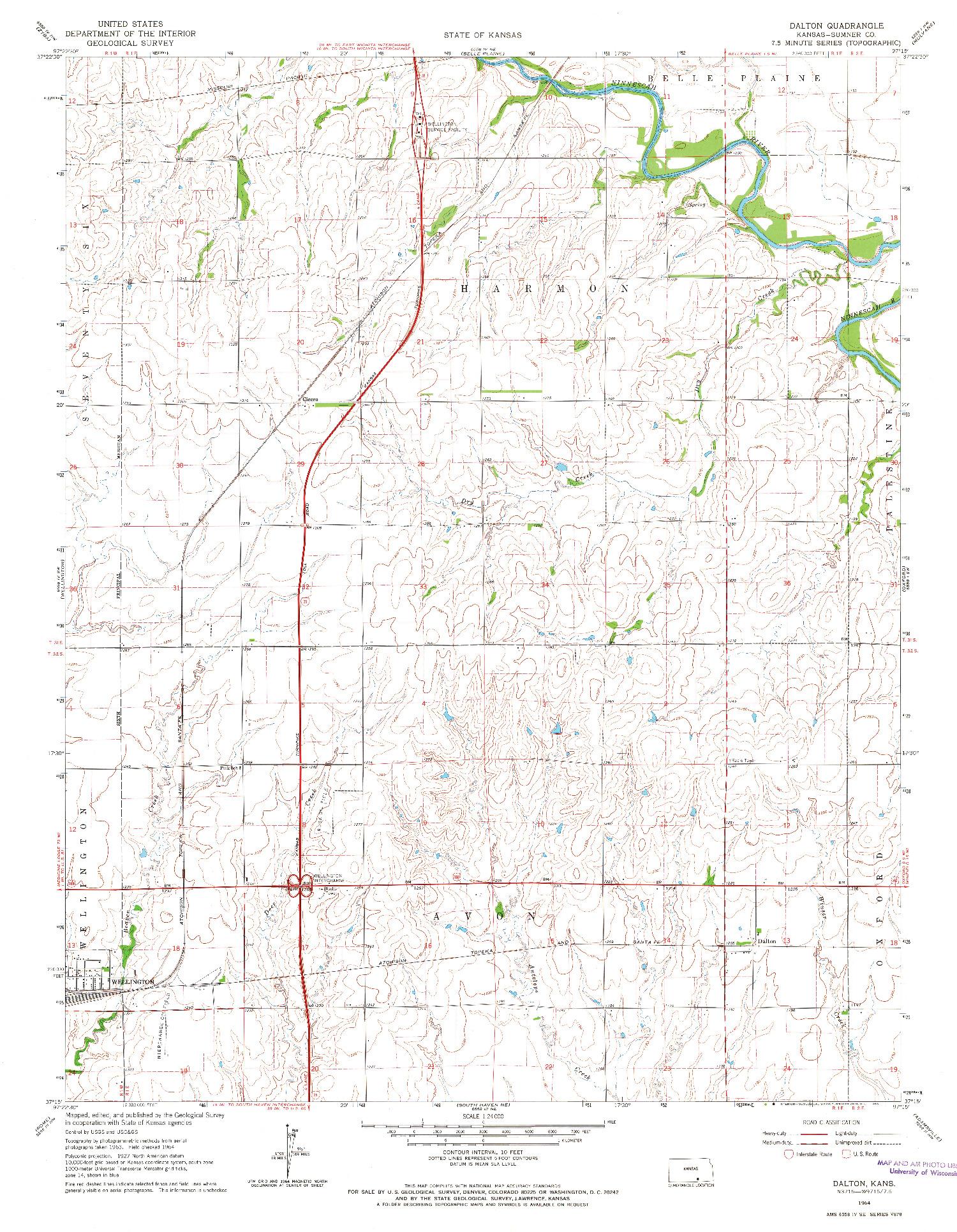 USGS 1:24000-SCALE QUADRANGLE FOR DALTON, KS 1964