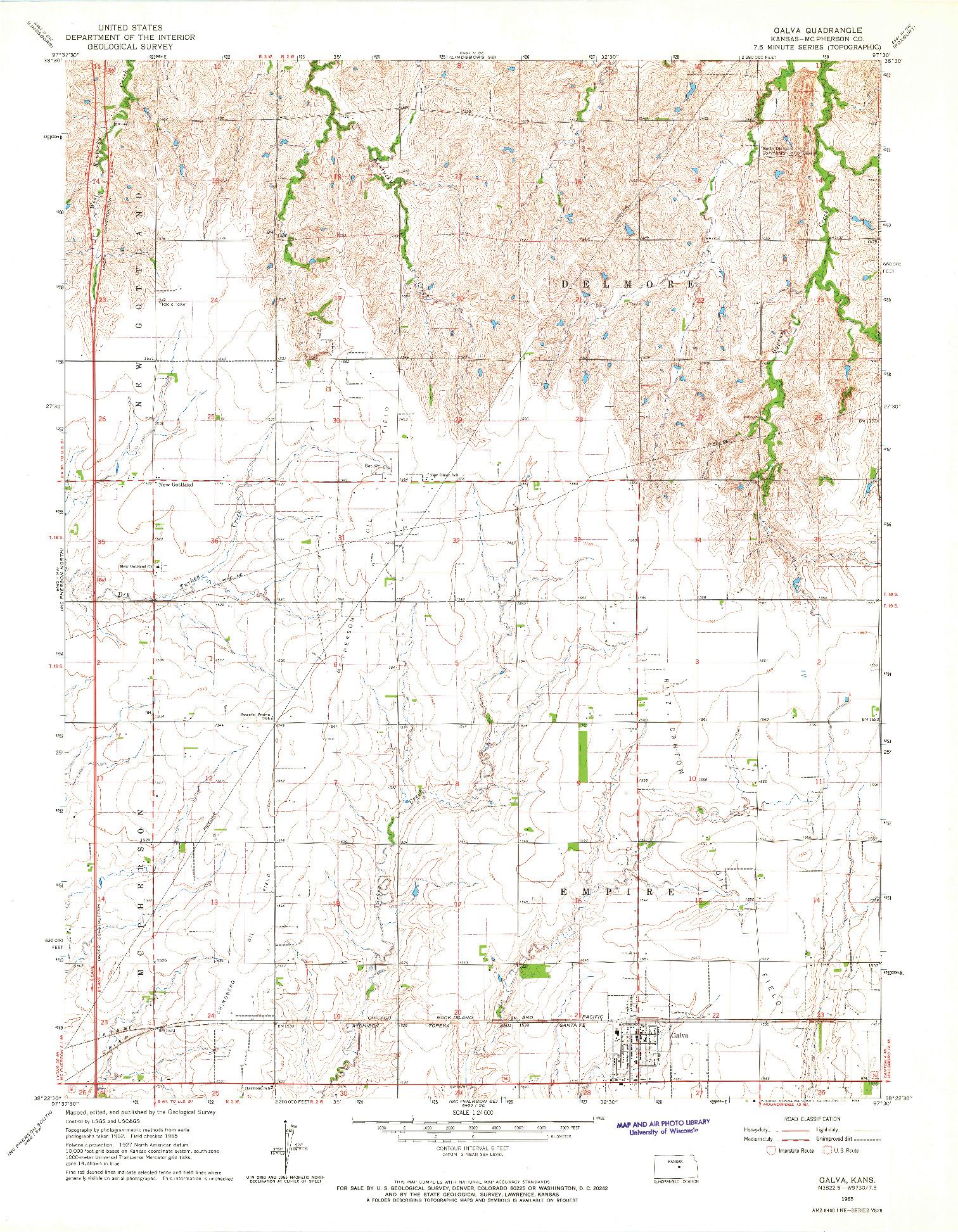 USGS 1:24000-SCALE QUADRANGLE FOR GALVA, KS 1965