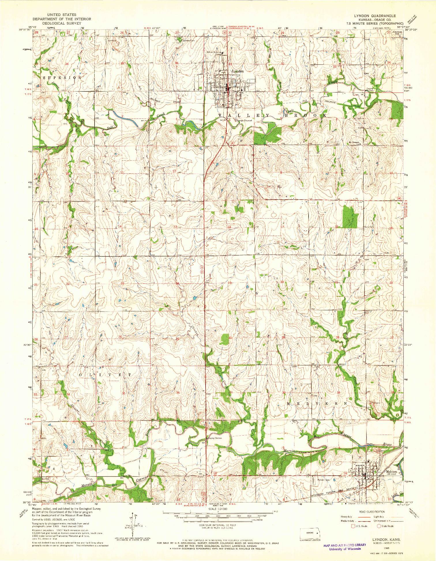 USGS 1:24000-SCALE QUADRANGLE FOR LYNDON, KS 1965