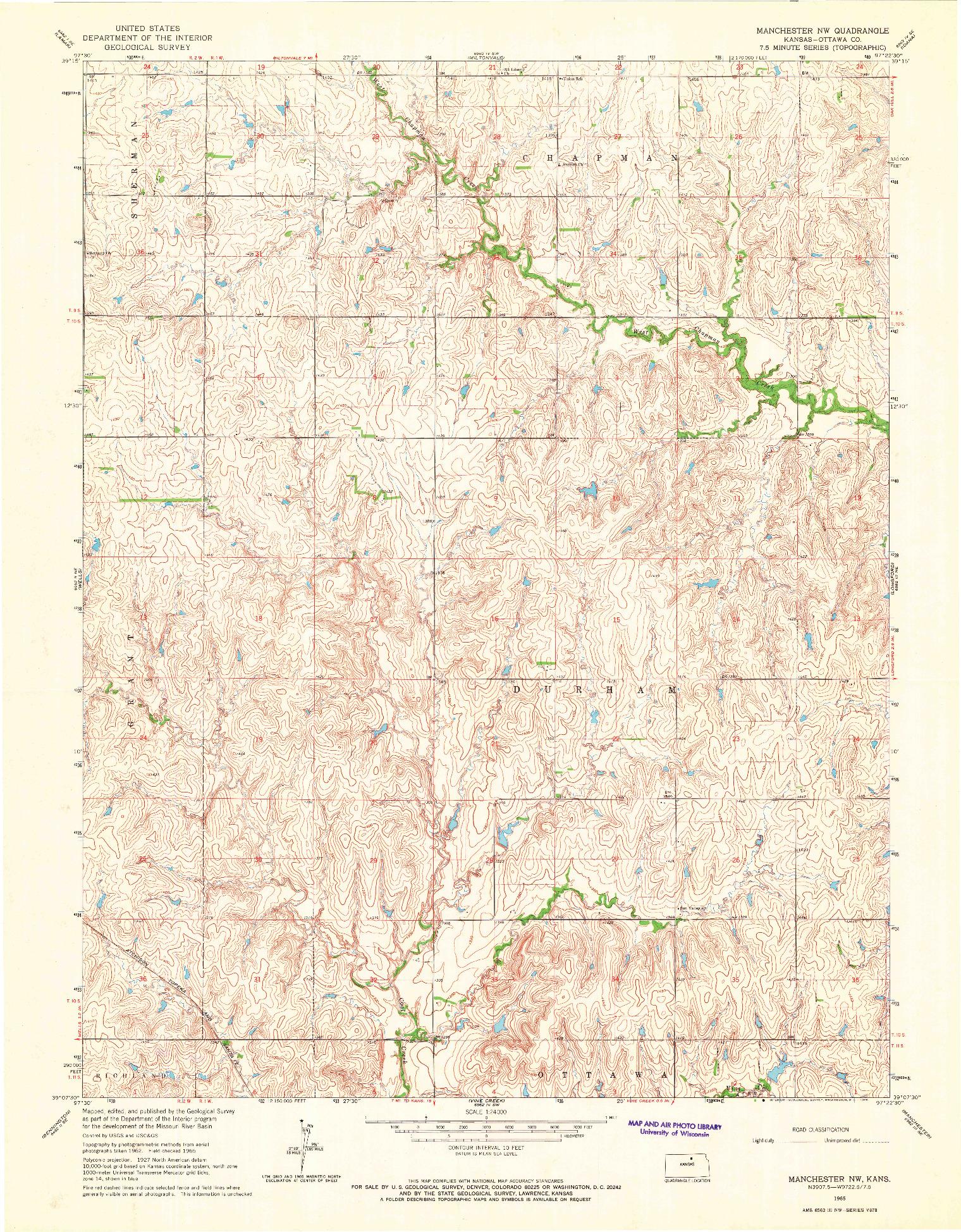 USGS 1:24000-SCALE QUADRANGLE FOR MANCHESTER NW, KS 1965