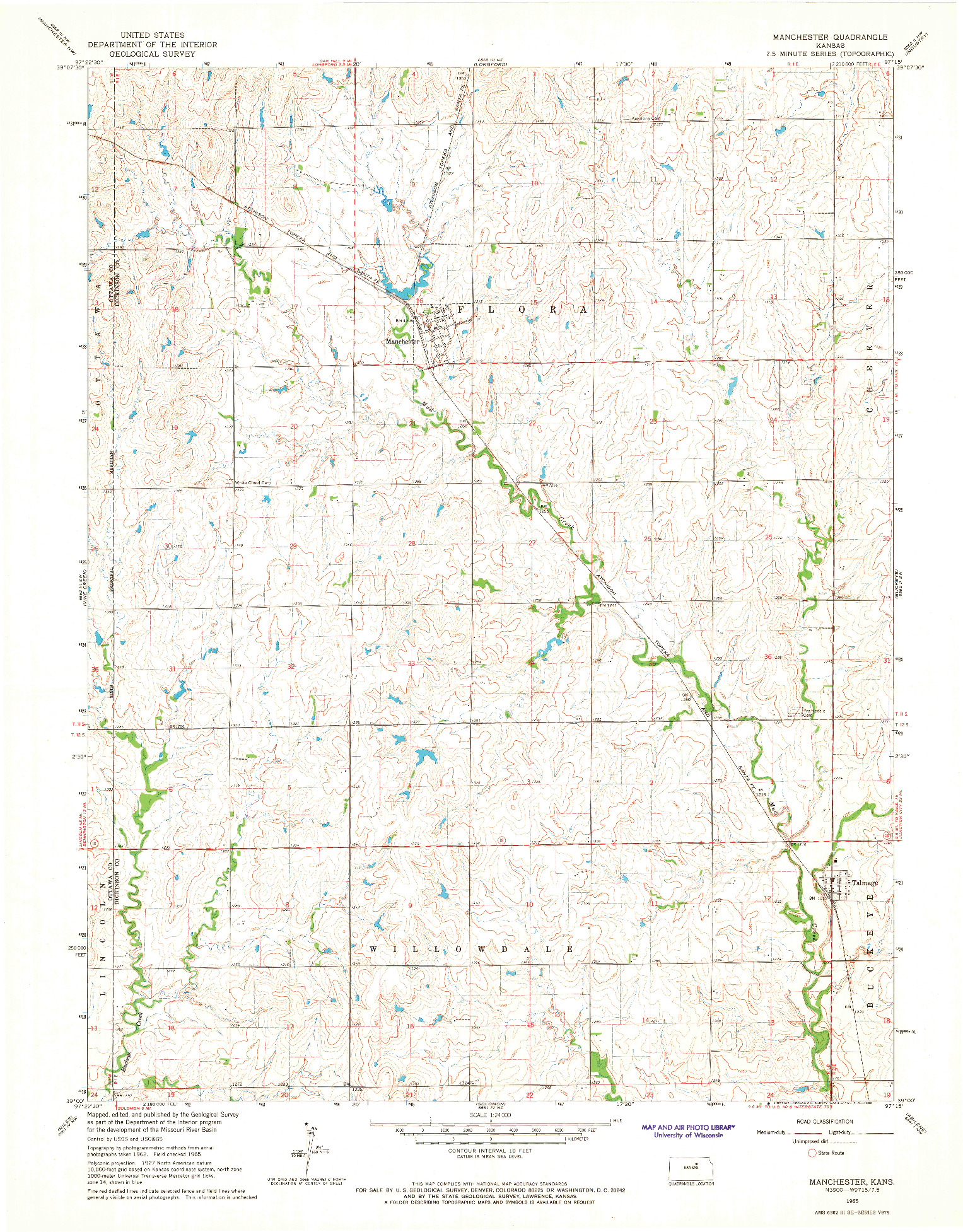 USGS 1:24000-SCALE QUADRANGLE FOR MANCHESTER, KS 1965
