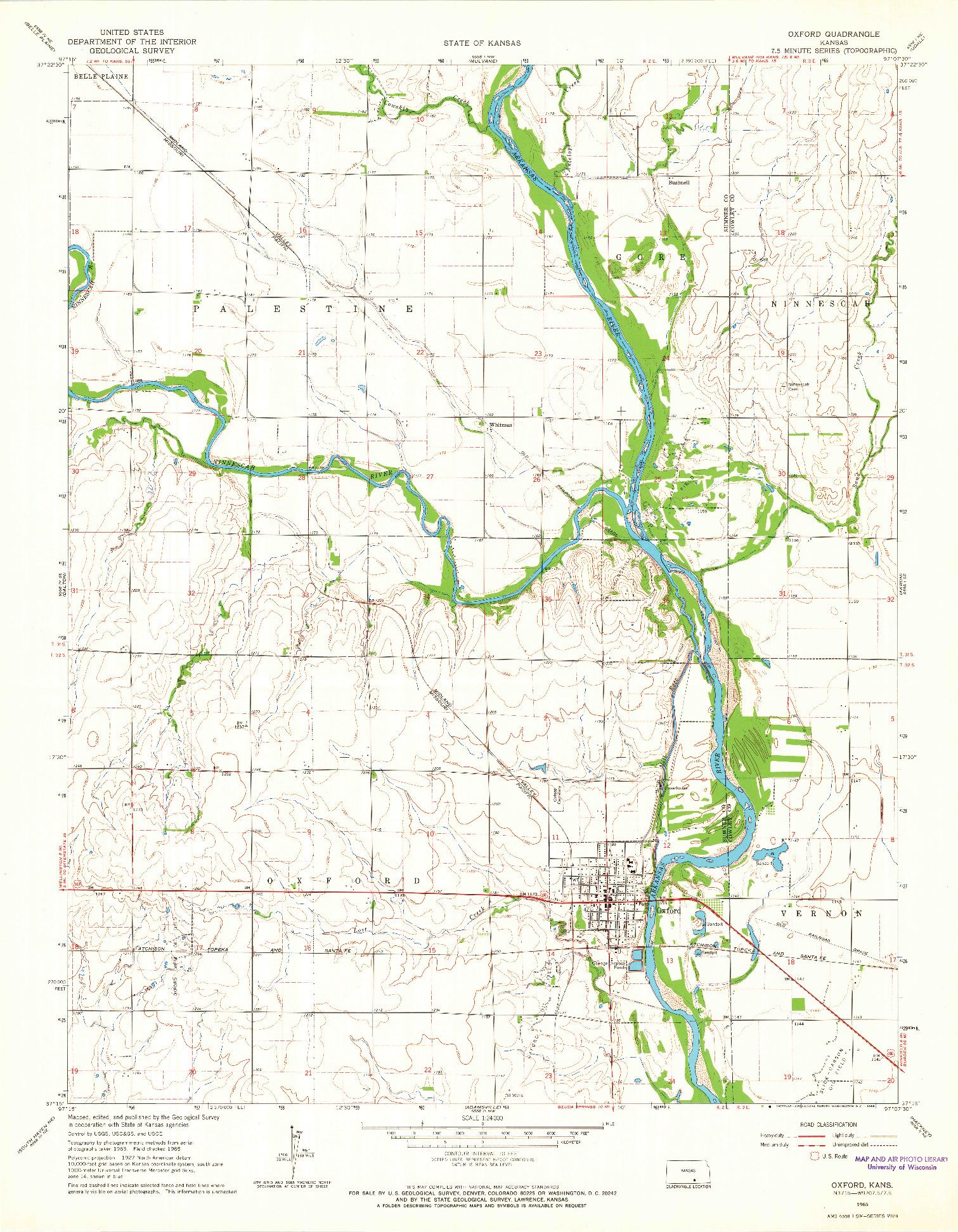 USGS 1:24000-SCALE QUADRANGLE FOR OXFORD, KS 1965